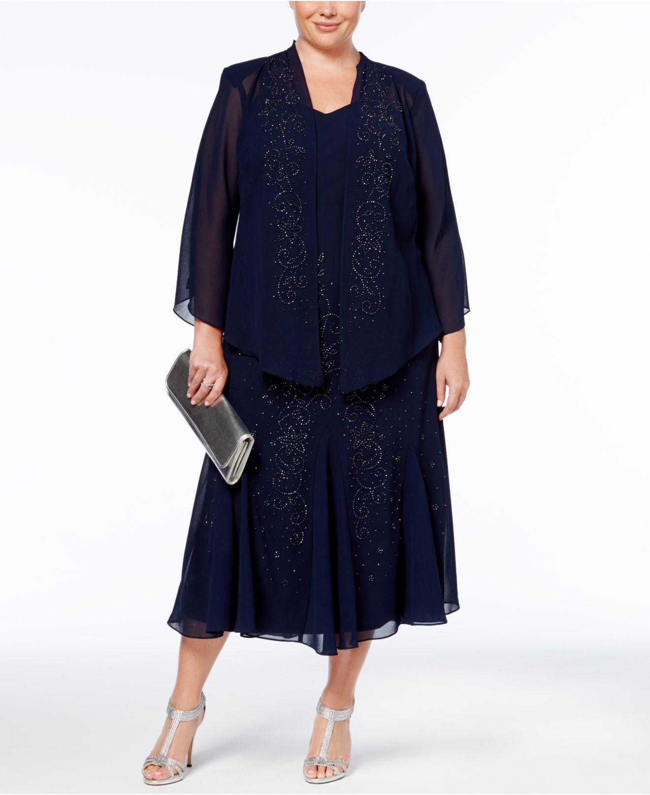 168897d555c74 R   M Richards. Women s Blue Plus Size Dress And Jacket ...
