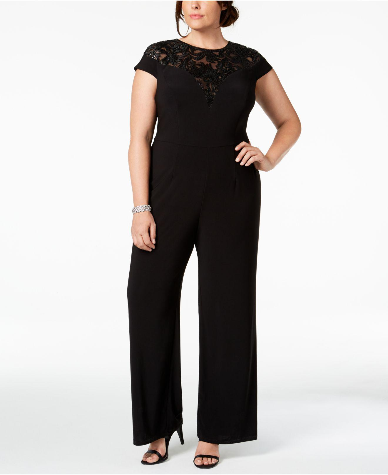 d55462ecfbfa3 Lyst - Adrianna Papell Plus Size Sequined Jersey Jumpsuit in Black ...
