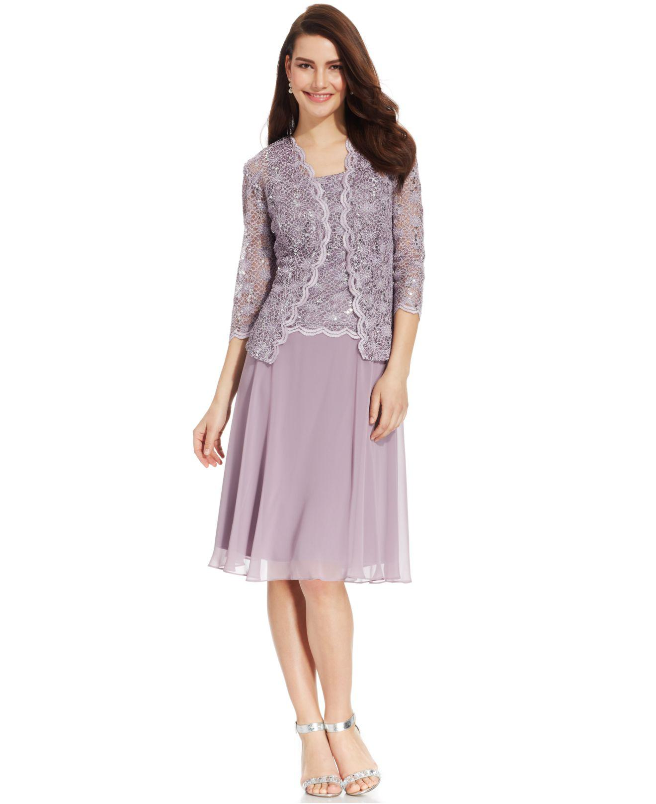 23b57a215de35 Lyst - R   M Richards R m Richards Sequined Lace Chiffon Dress And ...