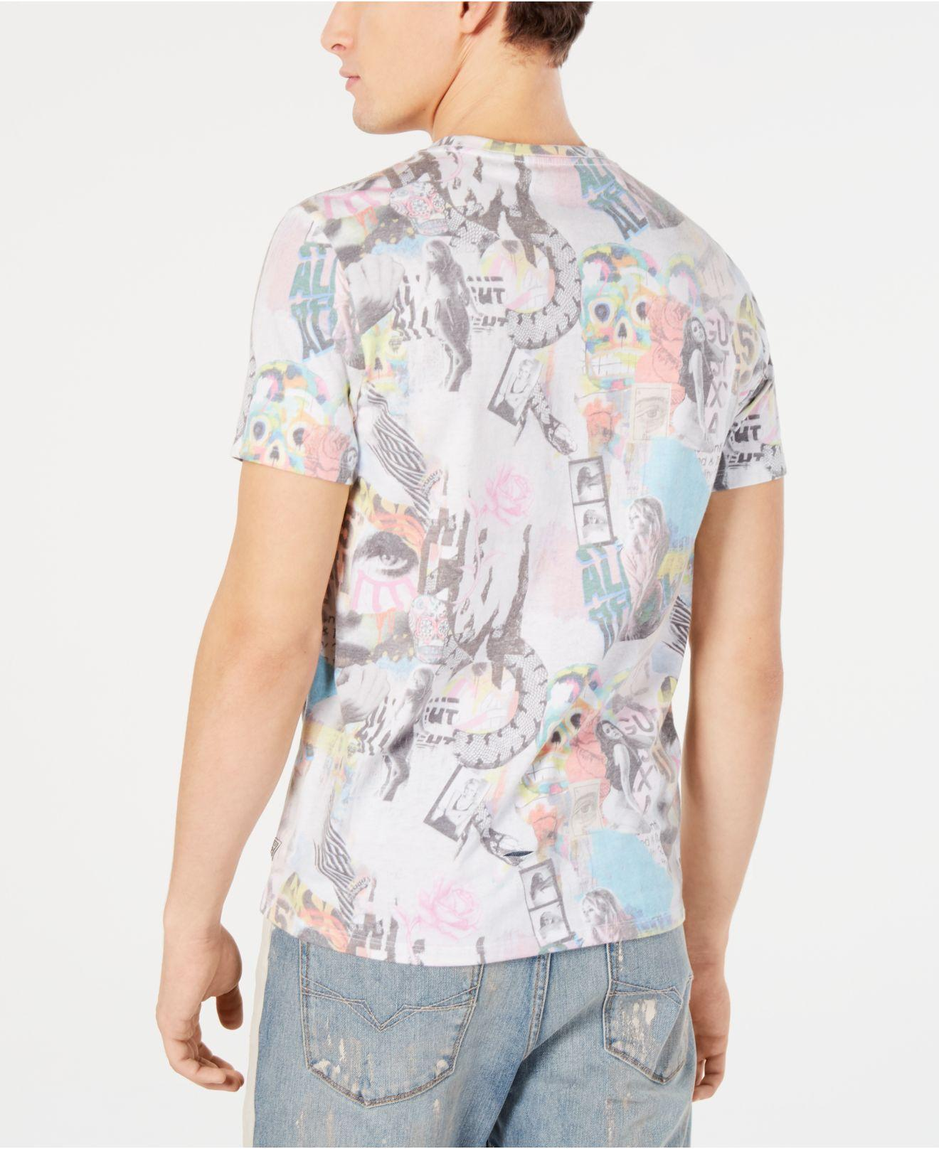 981d050aa402 Lyst - Guess Graffiti Collage Graphic T-shirt in White for Men
