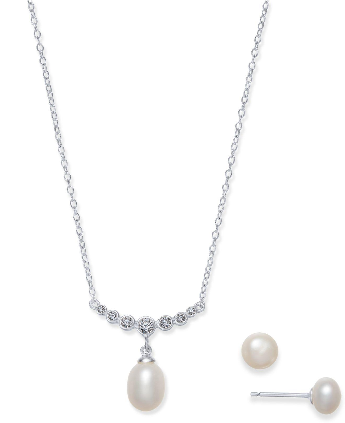 Fine Jewelry Cultured Freshwater Pearl & Lab Created Cubic Zirconia Sterling Silver Pendant Necklace BkrsM