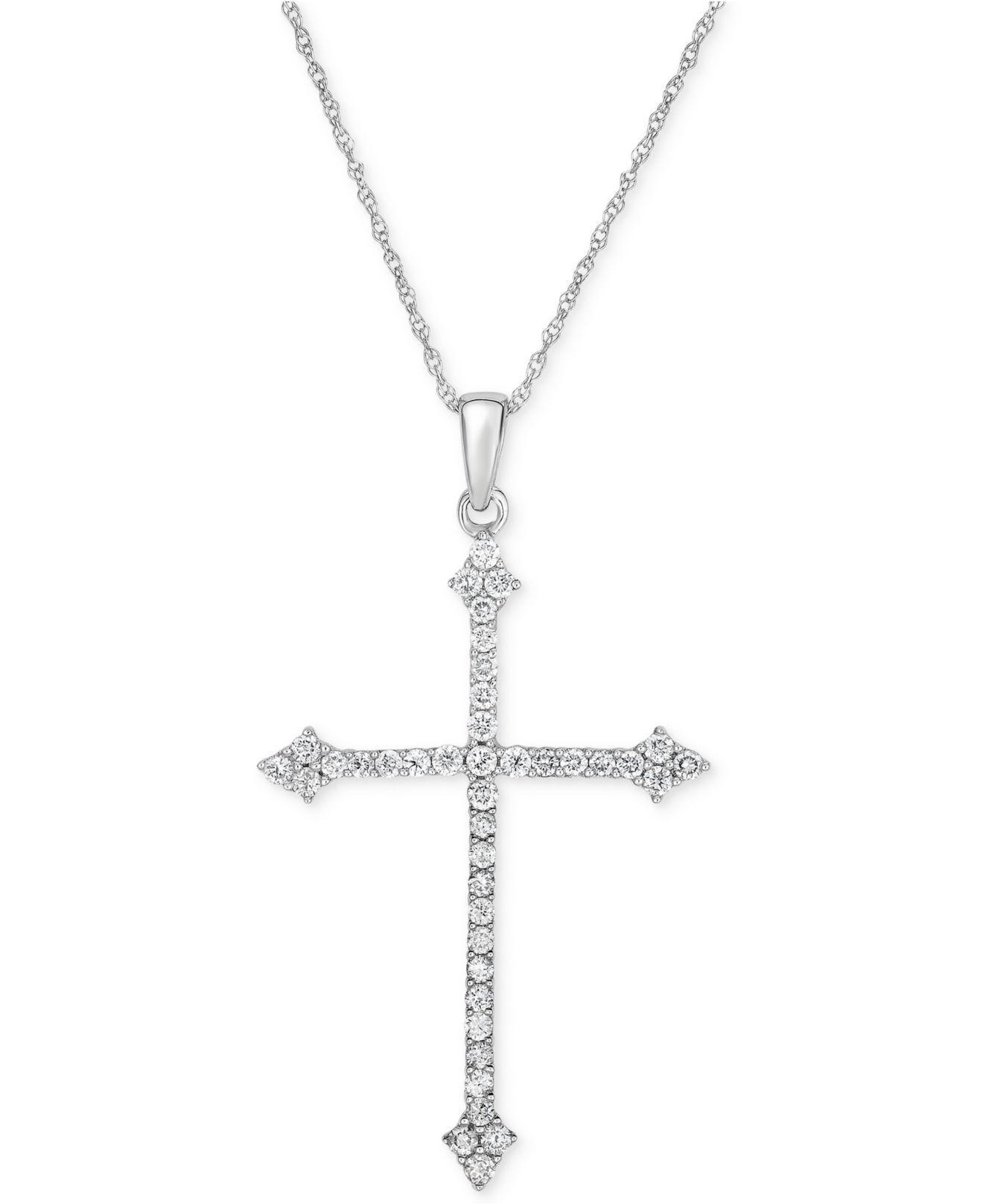 7fd01cd515ed0 Macy s. Women s Metallic Diamond Cross Pendant Necklace (1 2 Ct. T.w.) In 14k  White Gold
