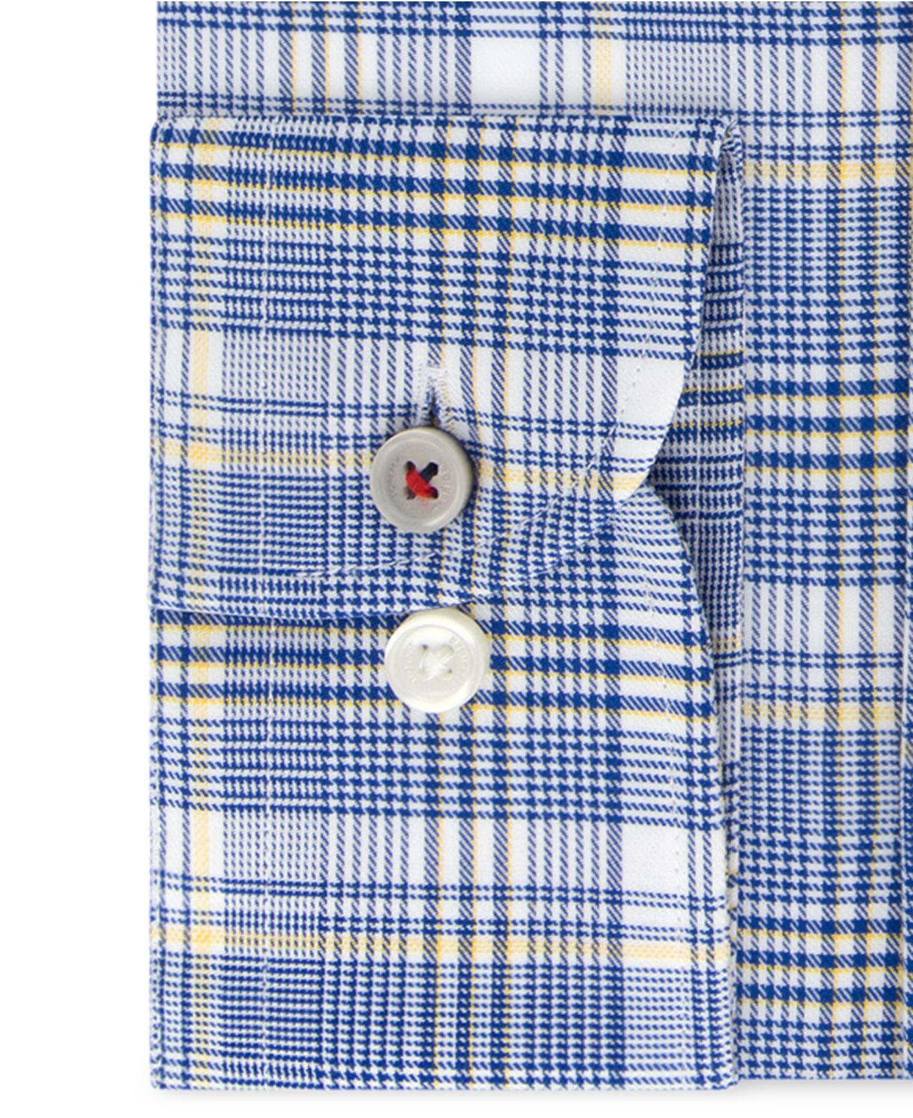 591eab9a4 Lyst - Tommy Hilfiger Slim-fit Th Flex Non-iron Supima Stretch Navy Check Dress  Shirt in Blue for Men
