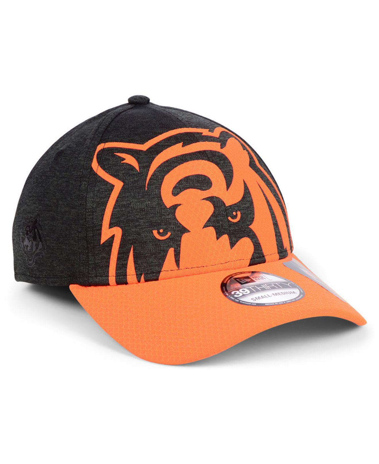 KTZ. Men s Orange Cincinnati Bengals Oversized Laser Cut Logo 39thirty Cap 15ee0ded1eb7