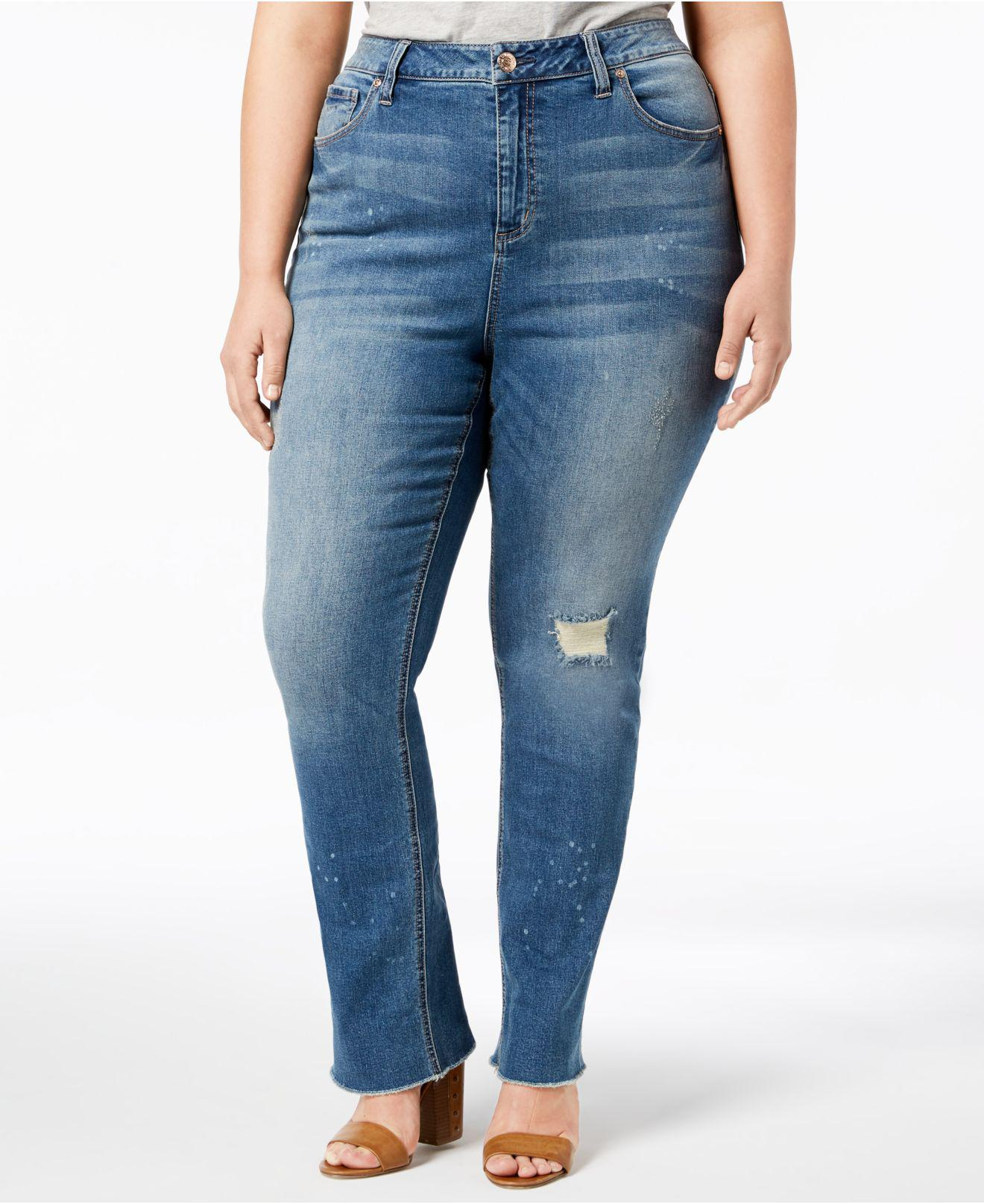 90da59b146 Lyst - Seven7 Seven7 Trendy Plus Size High-rise Jeans in Blue