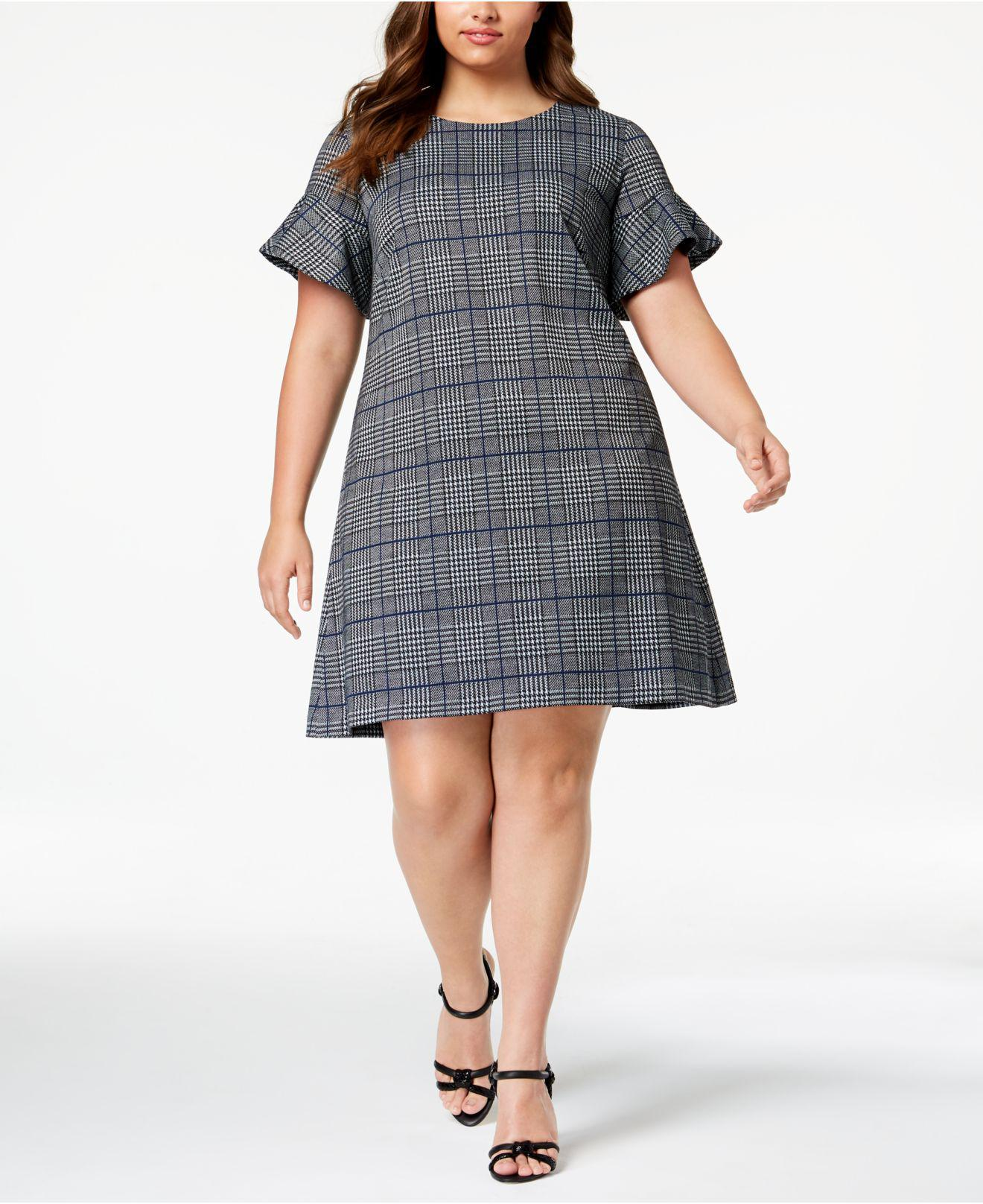 58878ca4d2a Lyst - Calvin Klein Plus Size Plaid Flared-sleeve Dress in Black