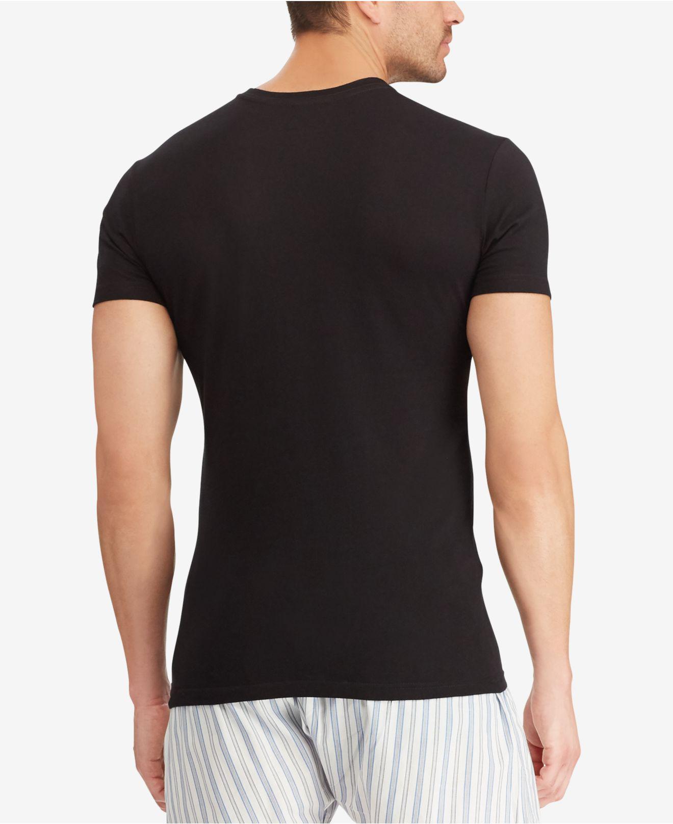 4dbcb333d26 Lyst - Polo Ralph Lauren Men s Slim-fit Classic Cotton V-neck T-shirt 3-pack  in Black for Men
