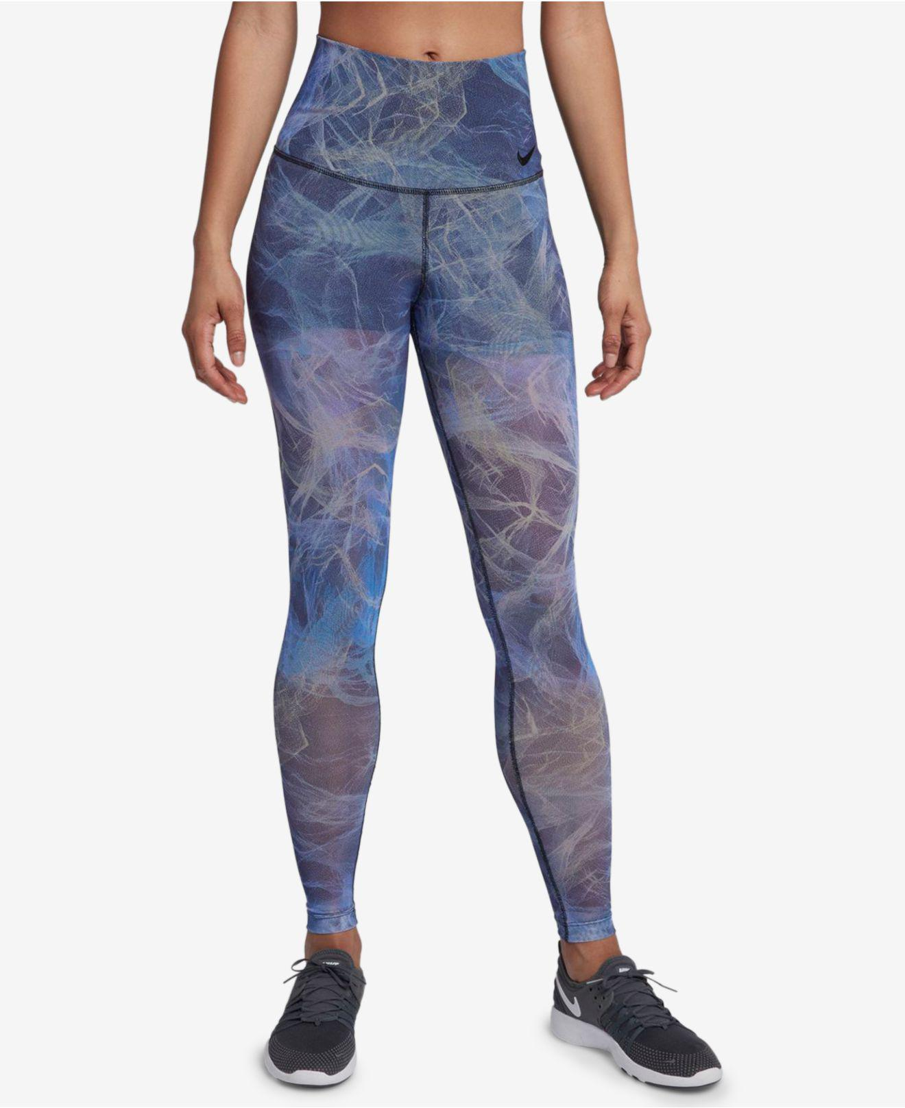 700a41e0e2 Nike Power Printed Mesh-overlay Workout Leggings in Blue - Lyst