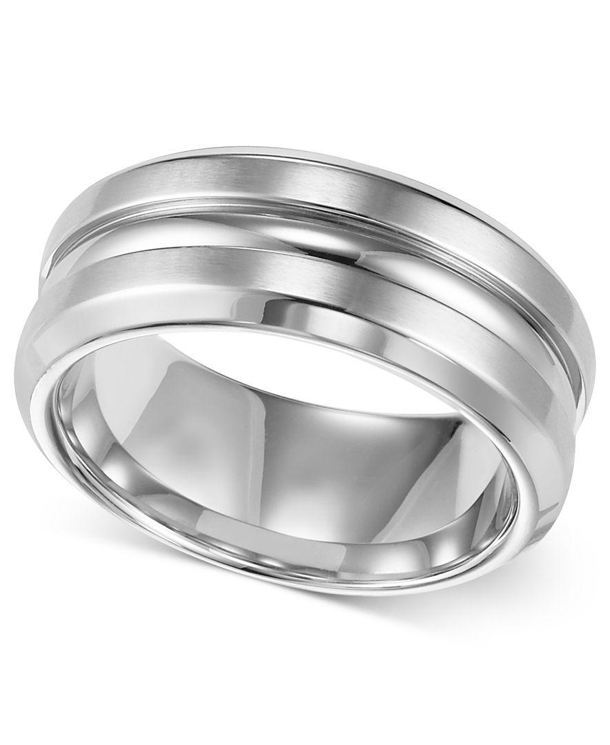 Stainless Steel Mens Wedding Band Ring 8mm: Triton Men's Stainless Steel Ring, 8mm Wedding Band In