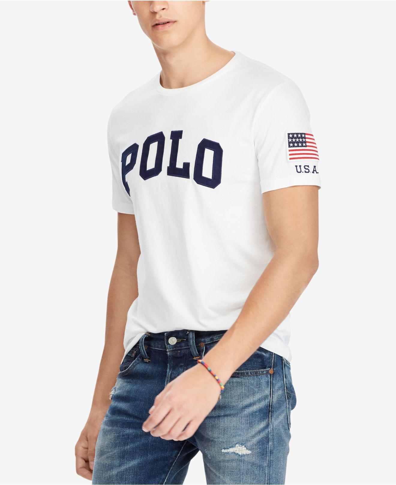 be7736805 Polo Ralph Lauren Men's Custom Slim Fit Logo-print T-shirt in White ...