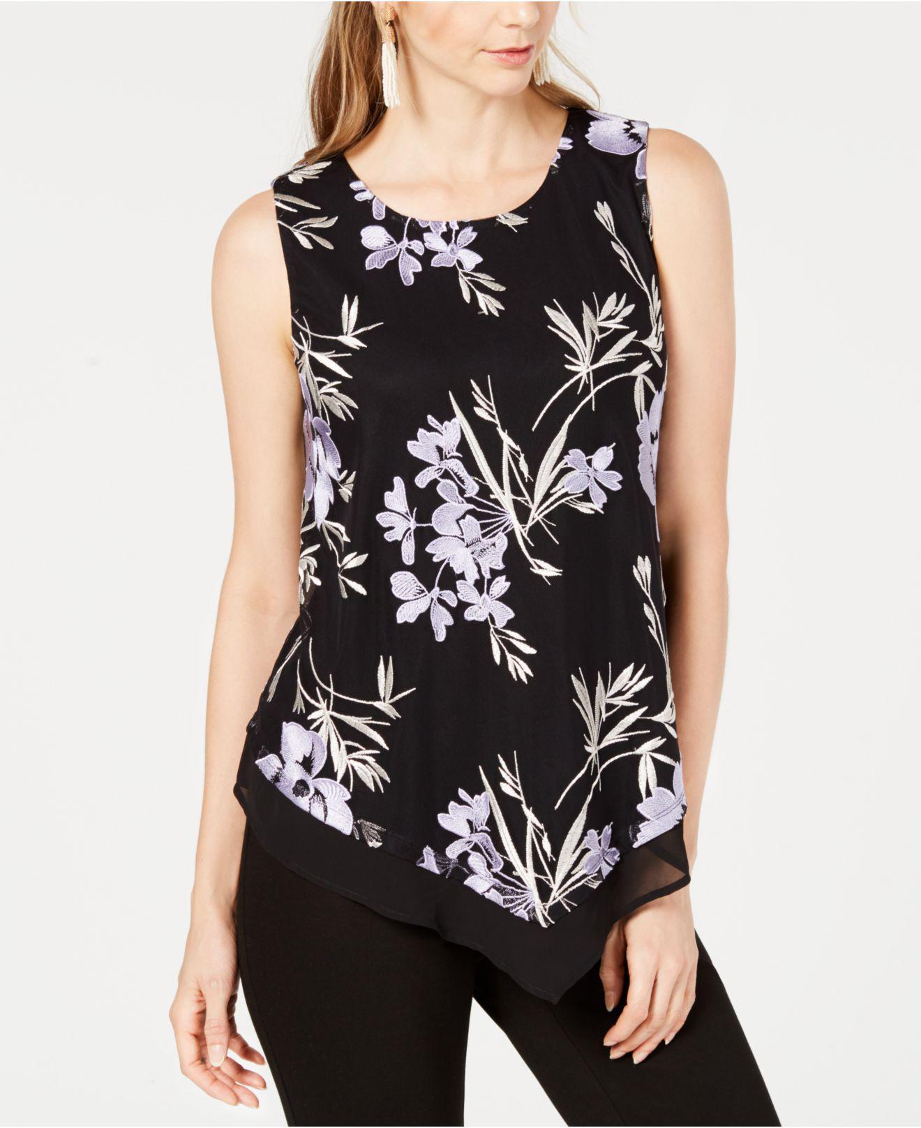 f2f596585b4 Alfani. Women s Black Embroidered Pointed-hem Top ...