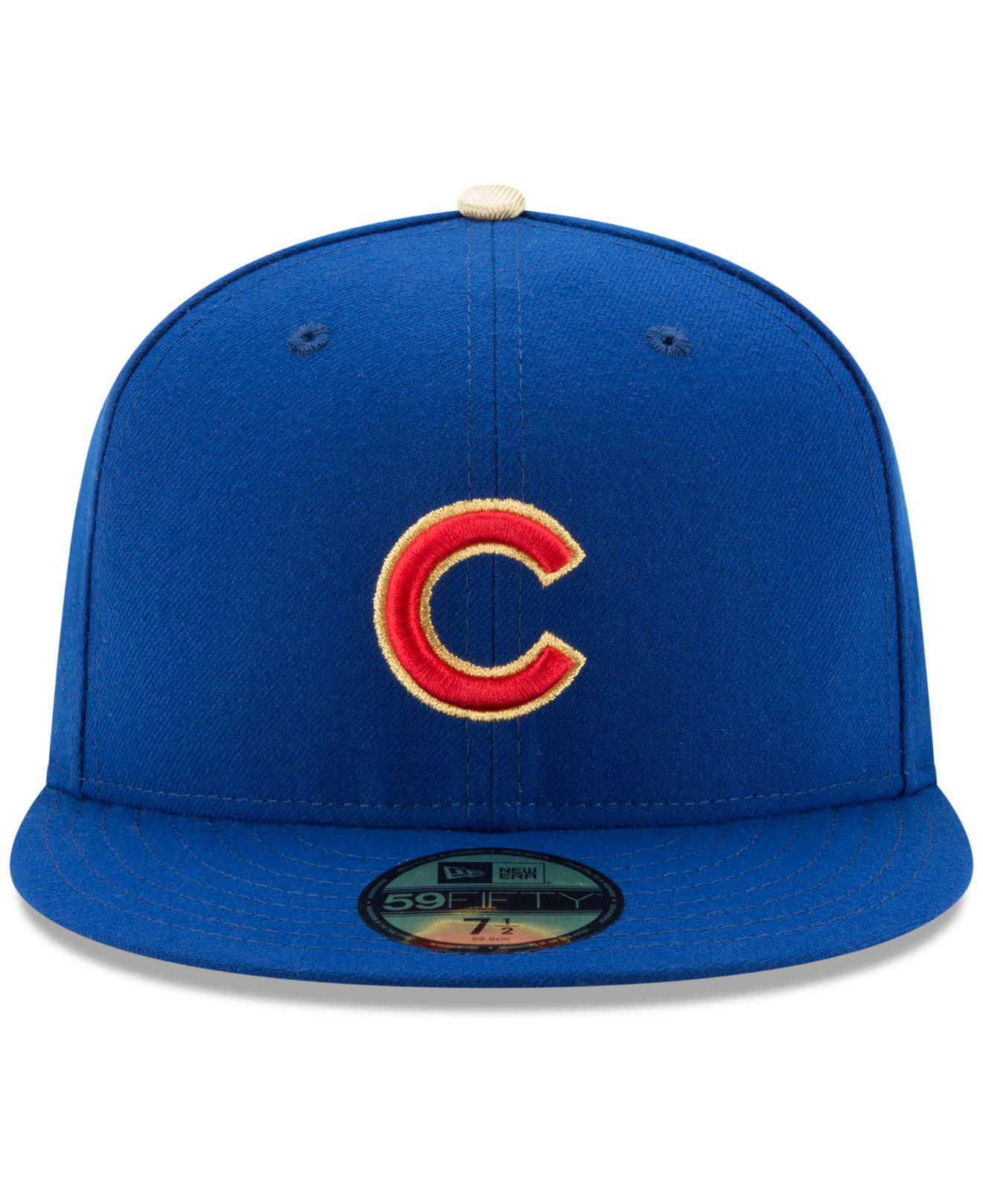 1f7d5501839 Lyst - Ktz Chicago Cubs Authentic Collection 2016 World Series  Commemorative Gold 59fifty Cap in Blue for Men