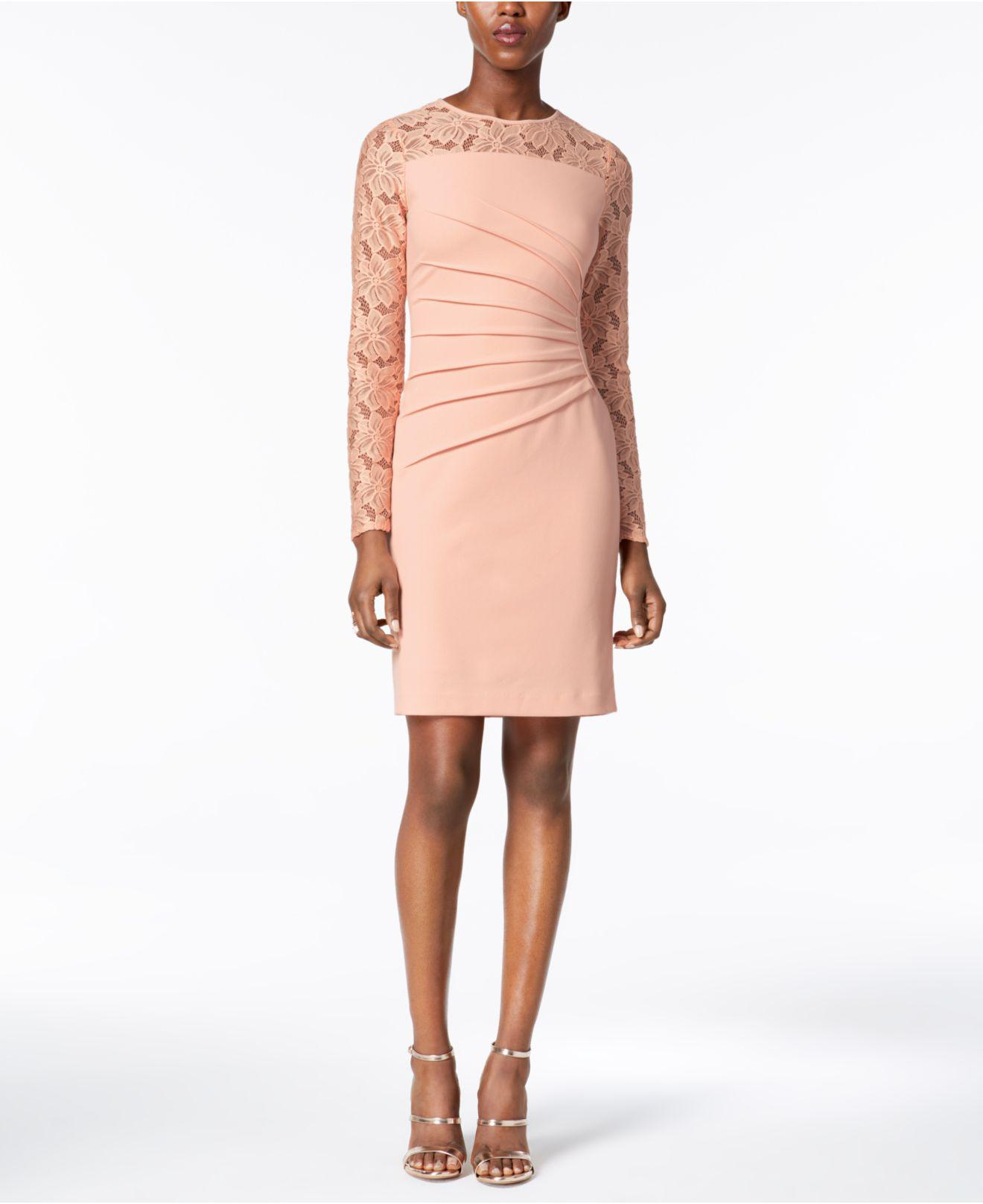 7fdf7eb8 Lyst - Ivanka Trump Lace-sleeve Sheath Dress in Pink