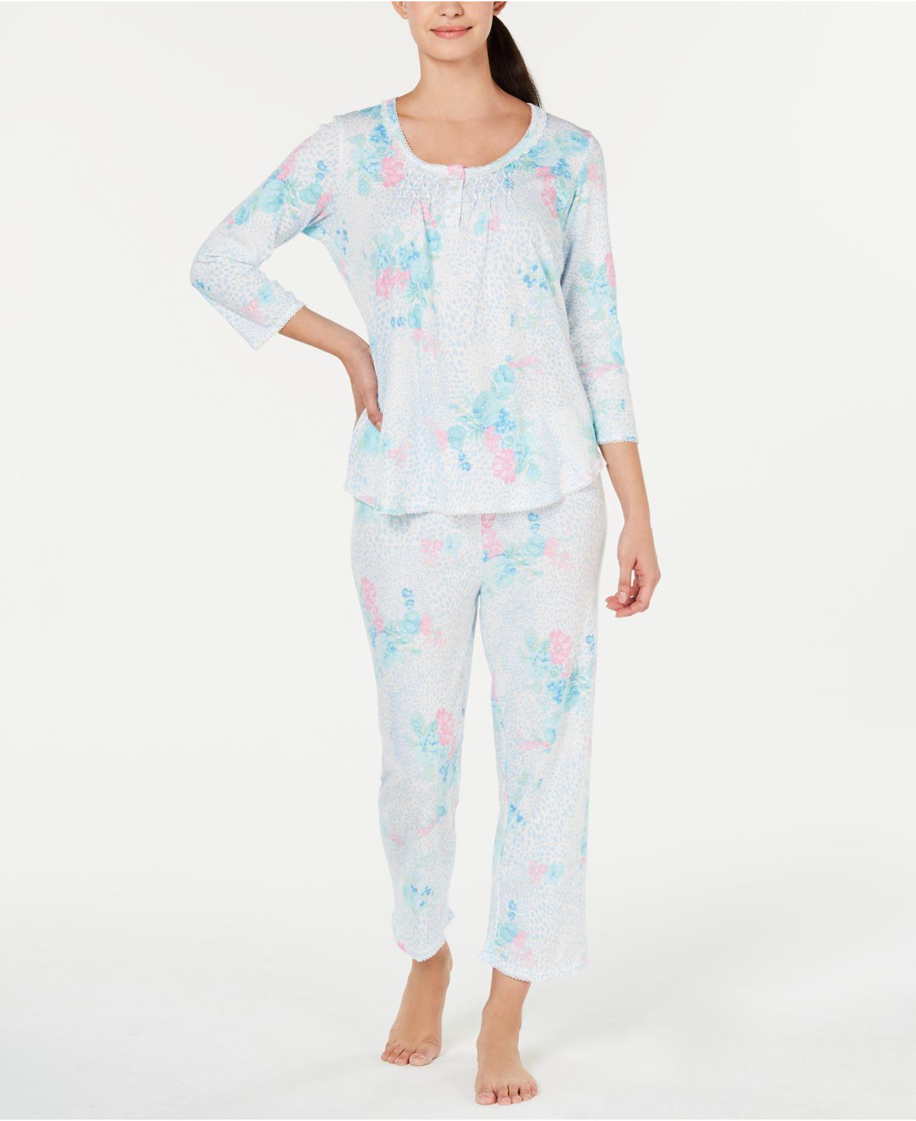 6f77d10d89 Lyst - Miss Elaine Printed Top   Pajama Pants Set in Blue