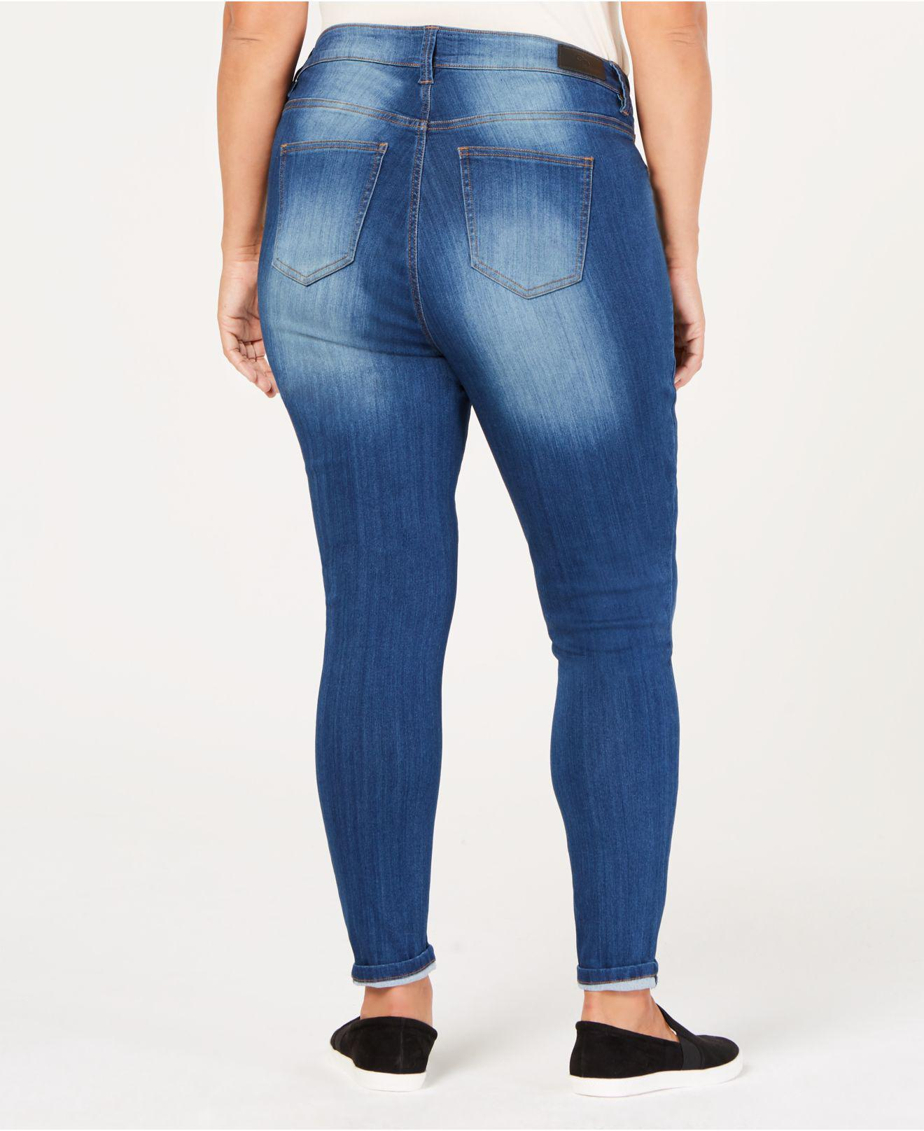 da85729040a64 Lyst - Celebrity Pink Plus Size Raw-hem Skinny Ankle Jeans in Blue