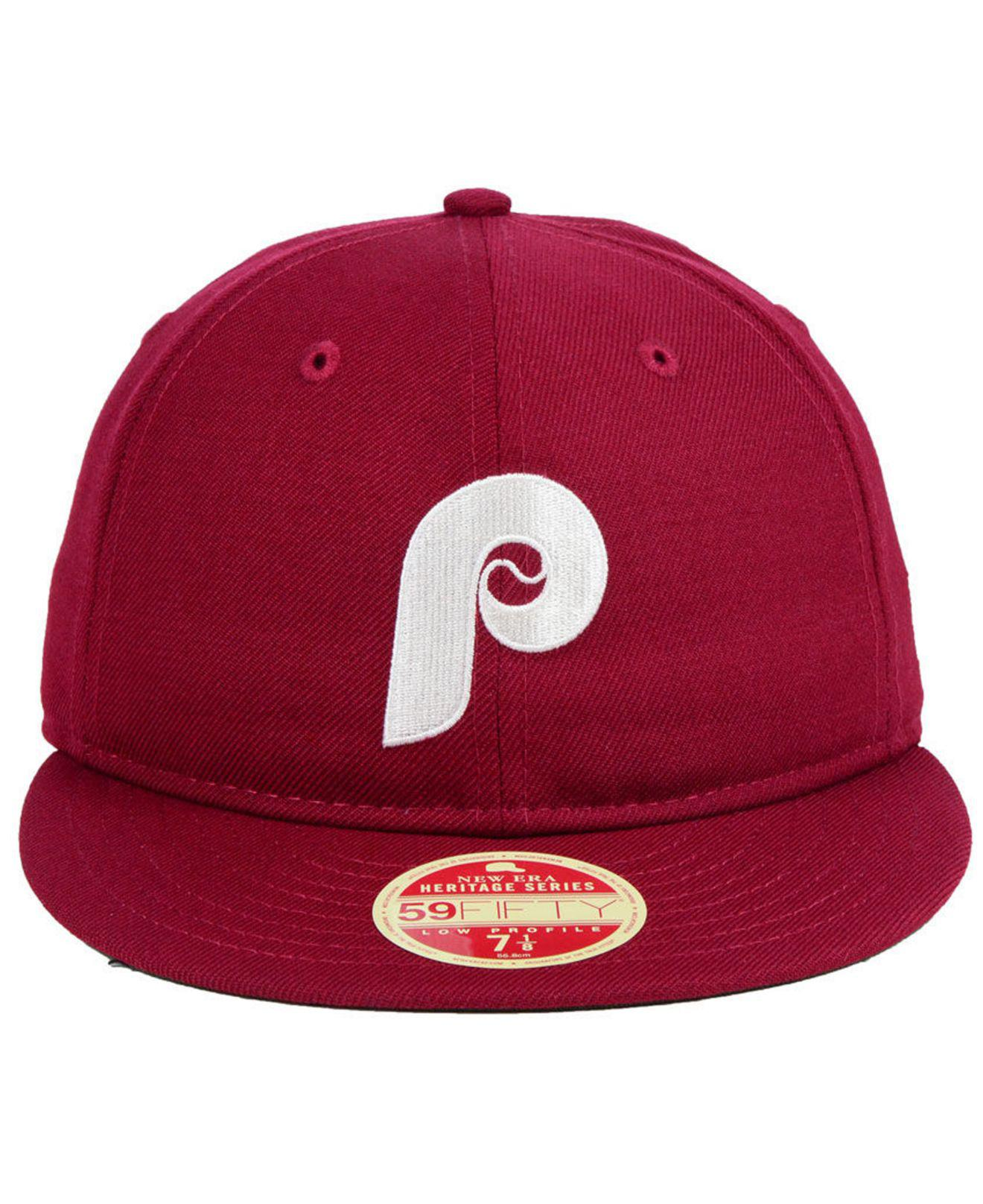 new product b966e ff116 ... germany lyst ktz philadelphia phillies heritage retro classic 59fifty  fitted cap in red for men 27874