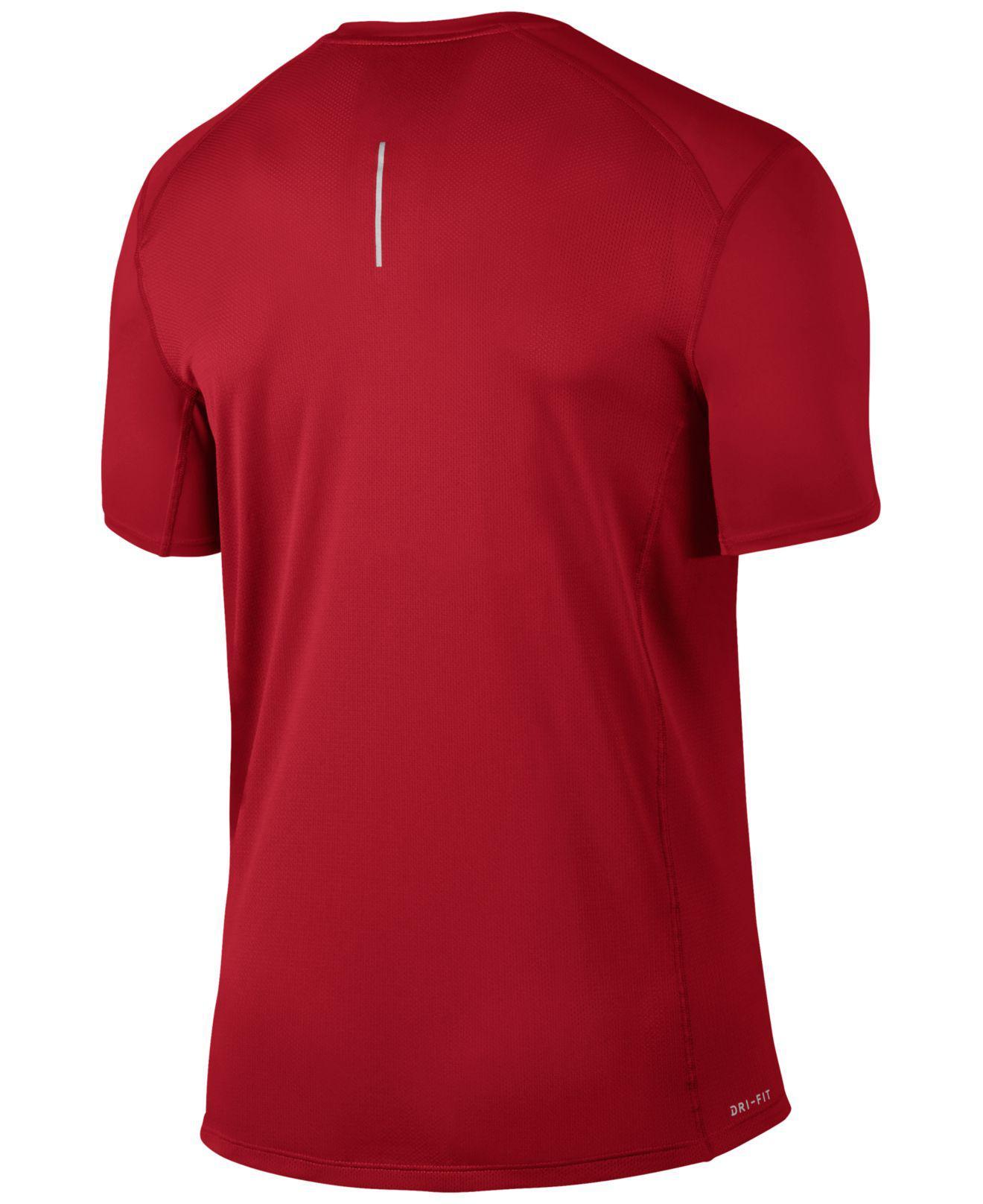 3c9e8204243a Lyst - Nike Dry Miler Running T-shirt in Red for Men