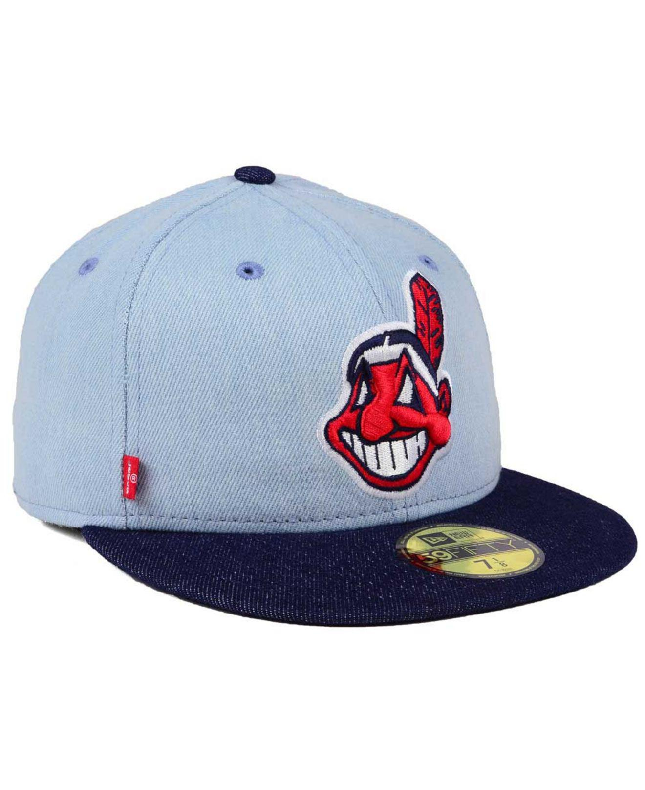 usa lyst ktz cleveland indians x levi 59fifty fitted cap in blue for men  e693f 96e25 120986359189