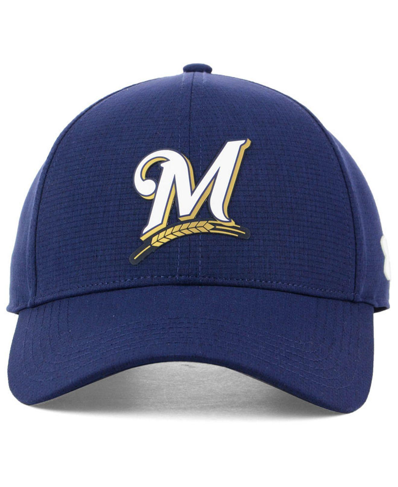 best service 742e5 b3a3e Lyst - Under Armour Milwaukee Brewers Driver Cap in Blue for Men