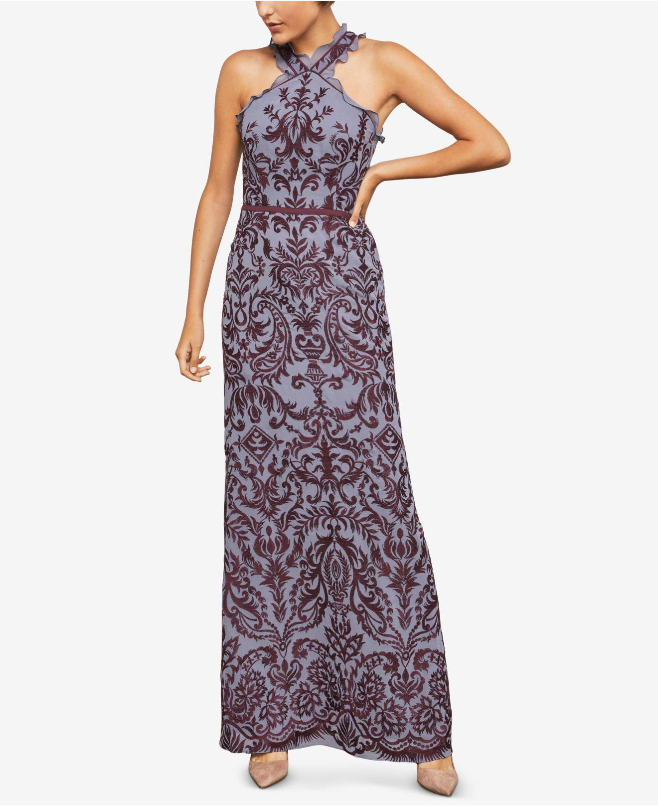 65d25622066 BCBGMAXAZRIA Embroidered Chiffon Halter Gown in Purple - Lyst
