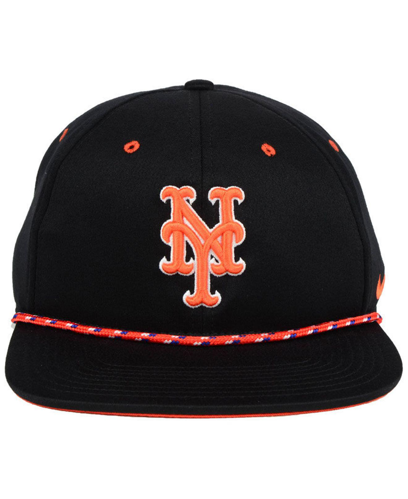 official photos 788b9 3ca0d Lyst - Nike New York Mets String Bill Snapback Cap in Black for Men