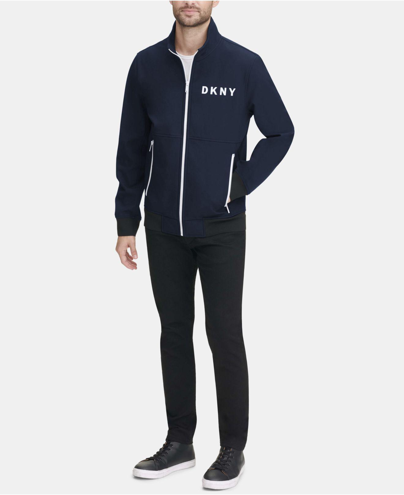 a03e89aa1 Lyst - DKNY Logo Graphic Bomber Jacket, Created For Macy's in Blue ...