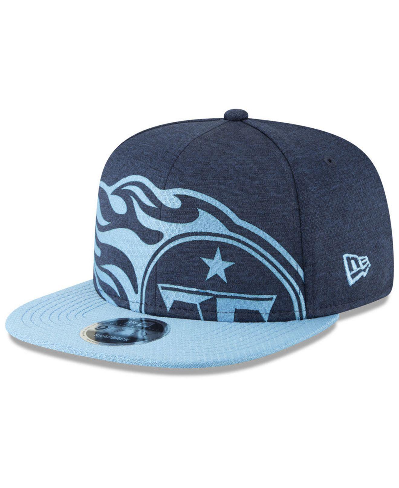 9ecd5247eb2 KTZ. Men s Blue Tennessee Titans Oversized Laser Cut 9fifty Snapback Cap