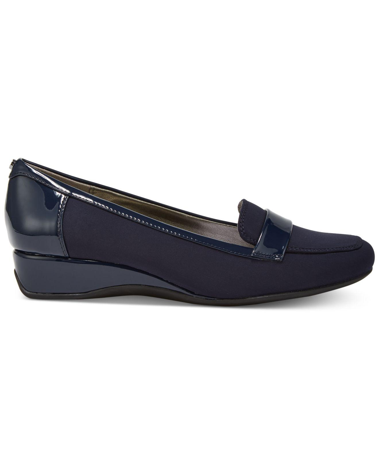 22478eee55ad Lyst - Bandolino Latera Wedge Loafer Flats in Blue