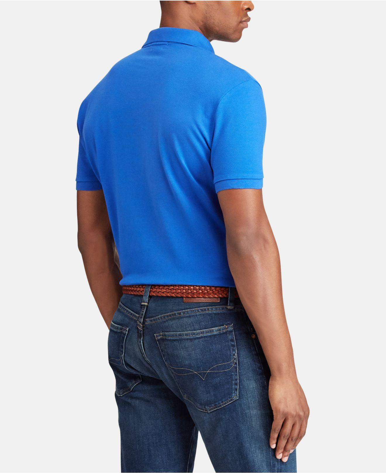 e8216078a3a6 Lyst - Polo Ralph Lauren Custom Slim Fit Polo in Blue for Men