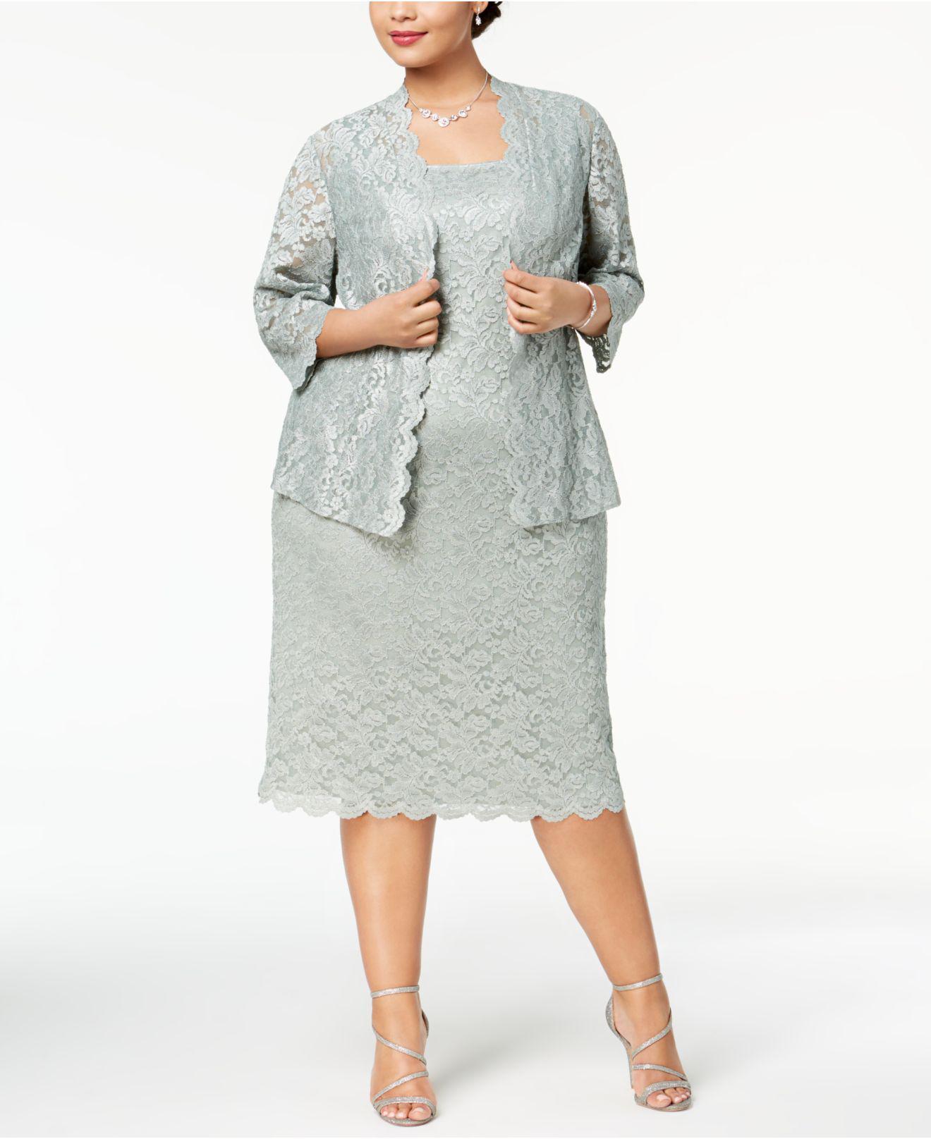 2ad8823a4d2 Lyst - Alex Evenings Plus Size Lace Midi Dress   Jacket