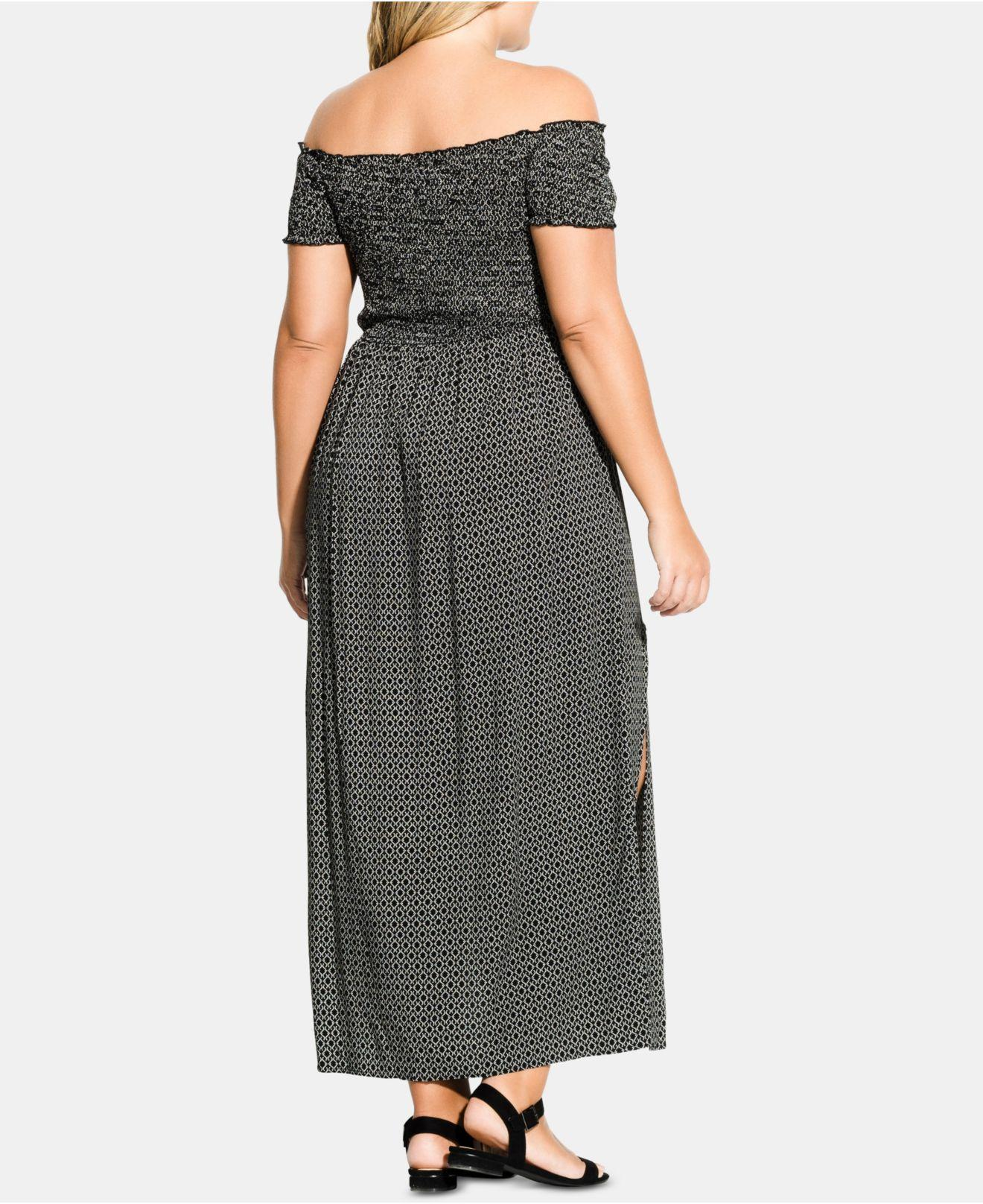 Lyst - City Chic Trendy Plus Size Off-the-shoulder Maxi Dress in Black