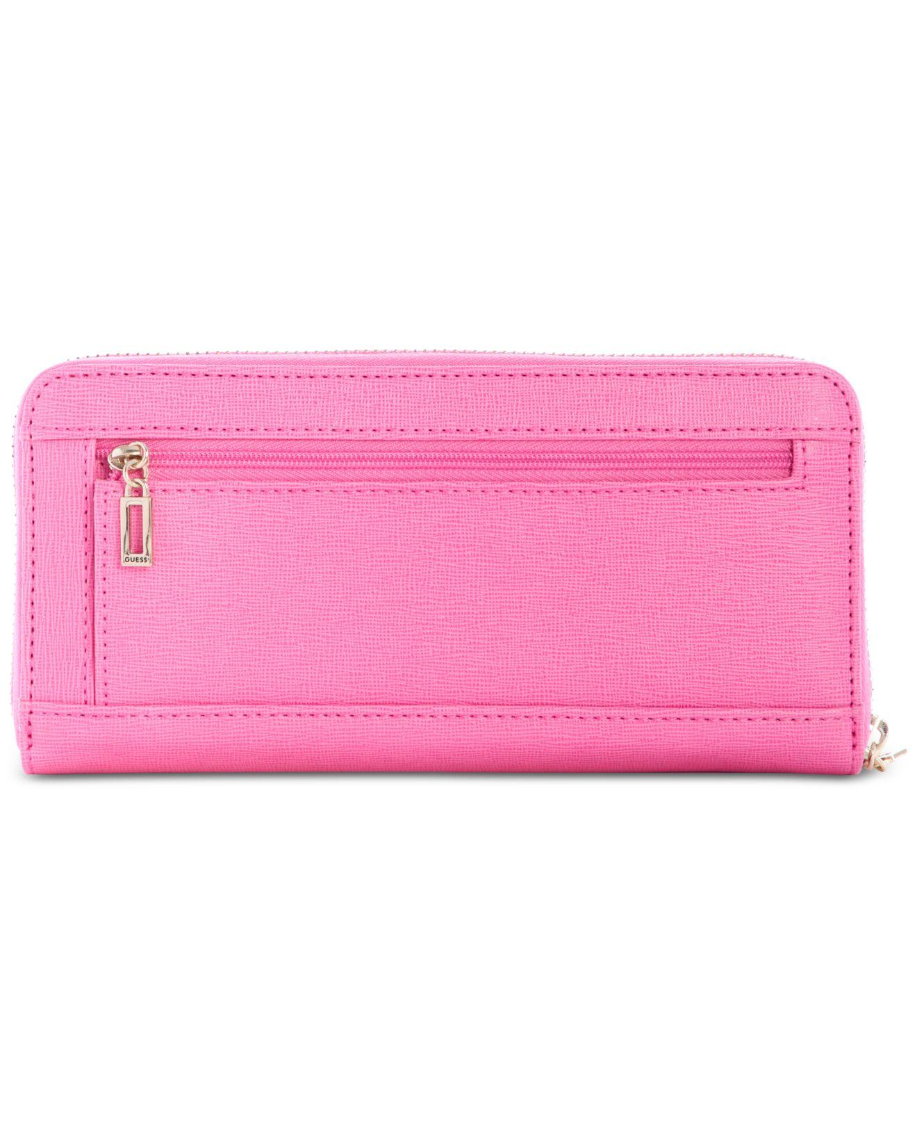 98957e7030 Lyst - Guess Kamryn Large Zip-around Wallet in Pink