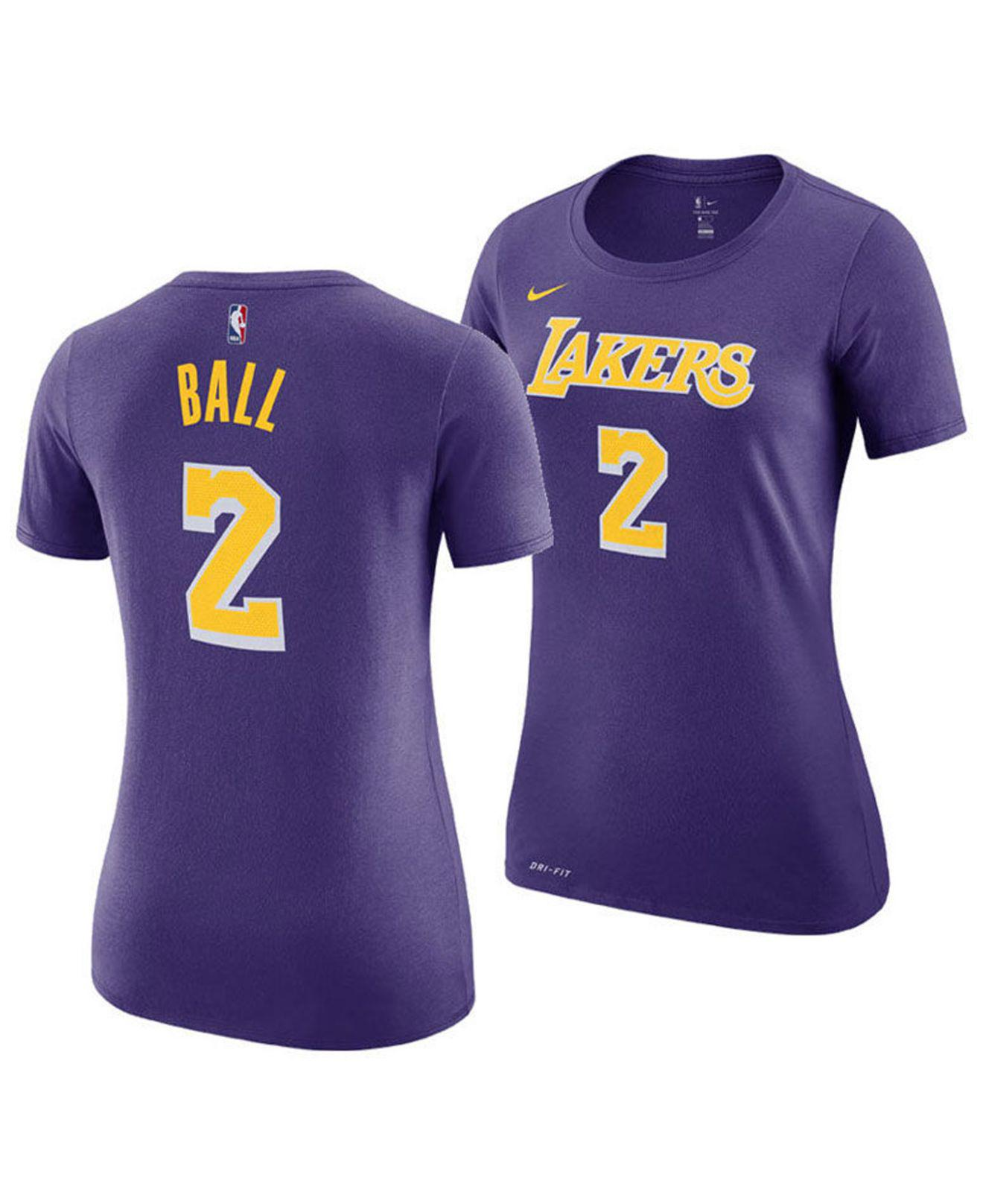 Nike. Women s Purple Lonzo Ball Los Angeles Lakers Name And Number Player T- shirt ec875f381