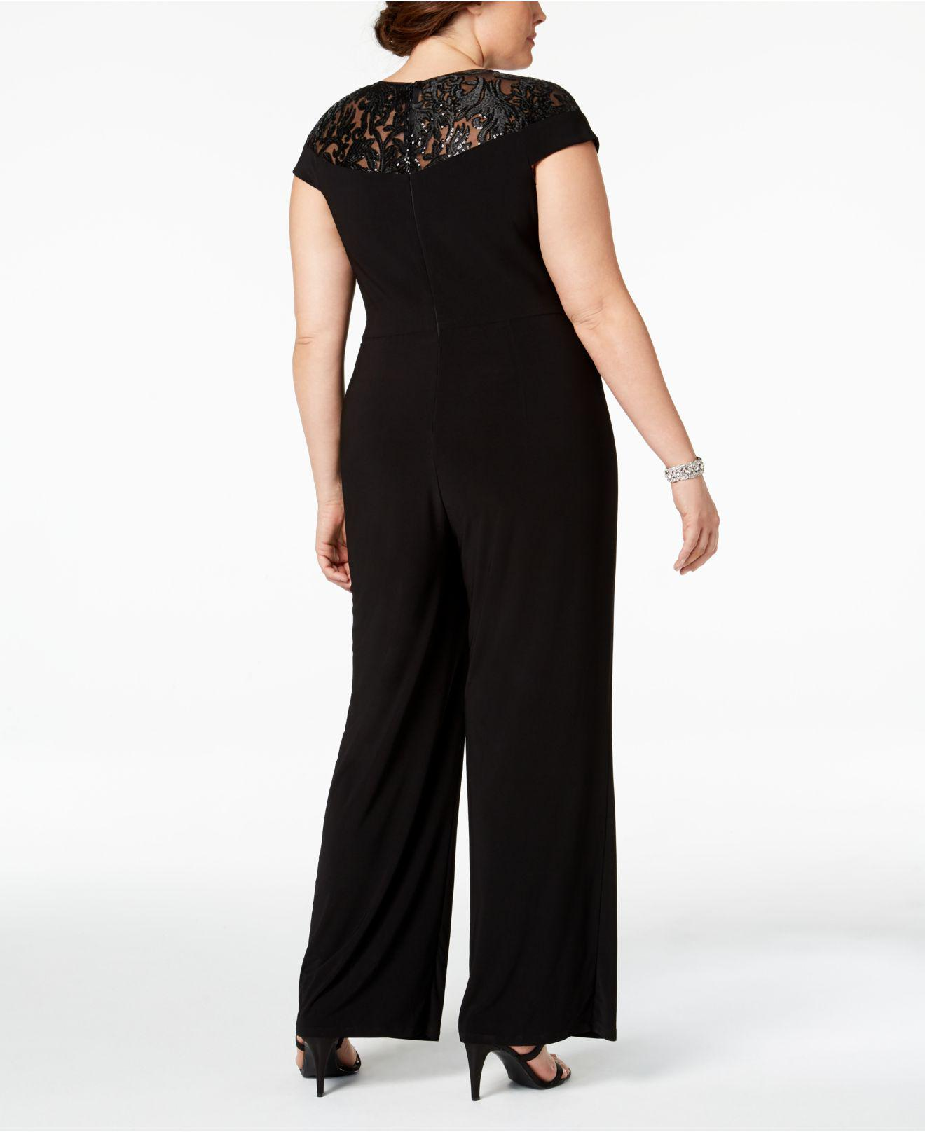 6881be30130 Lyst - Adrianna Papell Plus Size Sequined Jersey Jumpsuit in Black - Save  40%