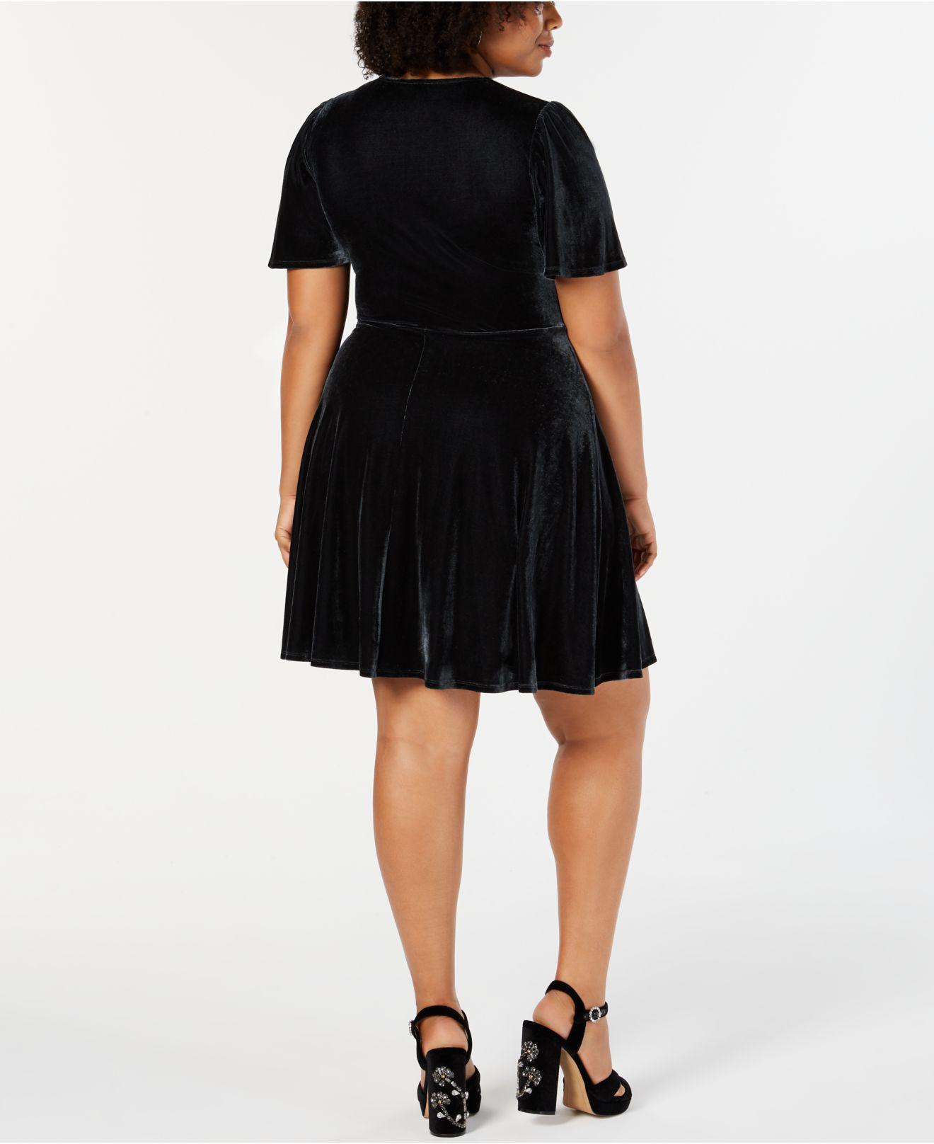 20ecaabcbd1 Lyst - Soprano Trendy Plus Size Velvet Fit   Flare Dress in Metallic