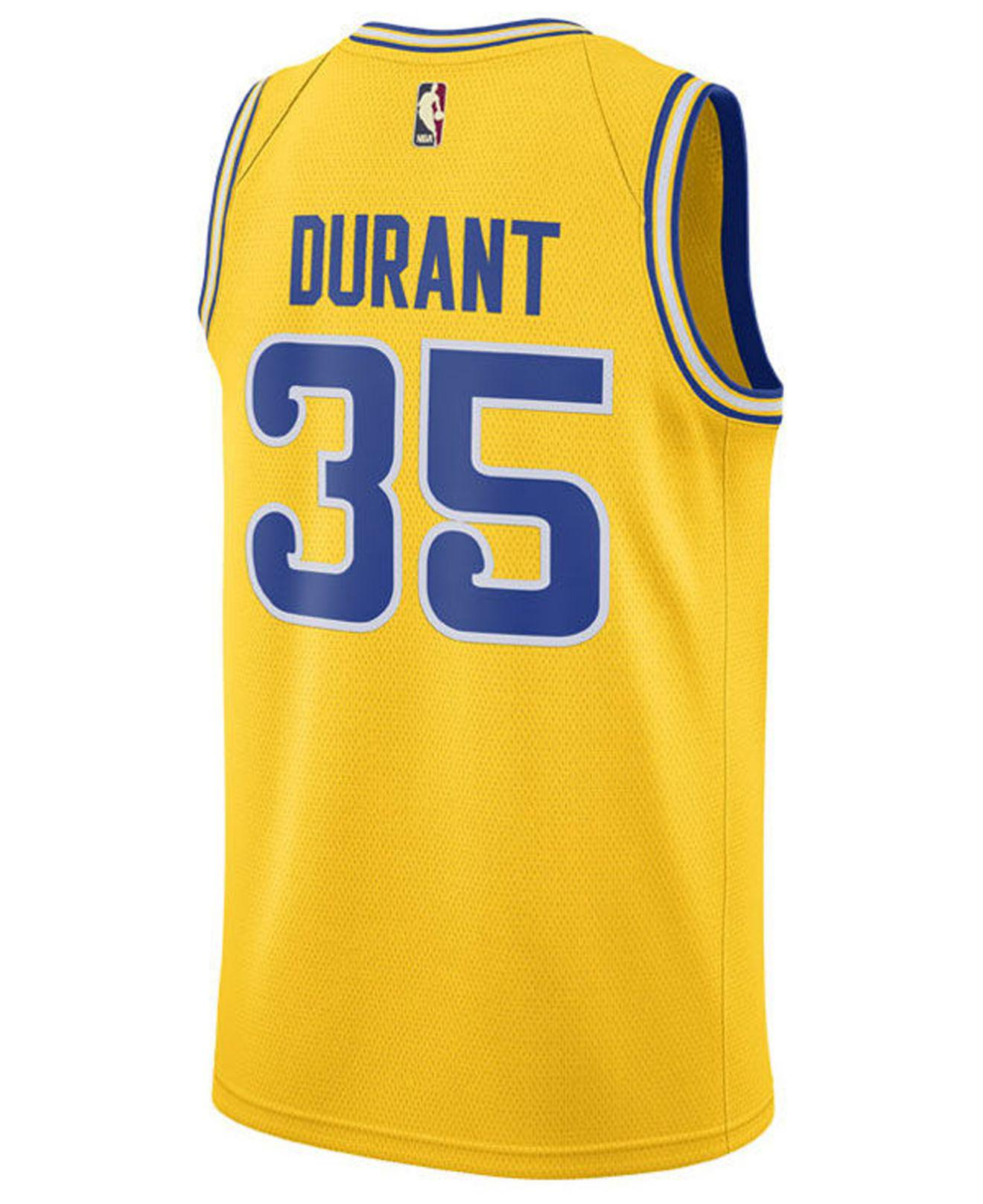 Lyst - Nike Kevin Durant Golden State Warriors Hardwood Classic Swingman  Jersey in Yellow for Men 1d4cd9d6f