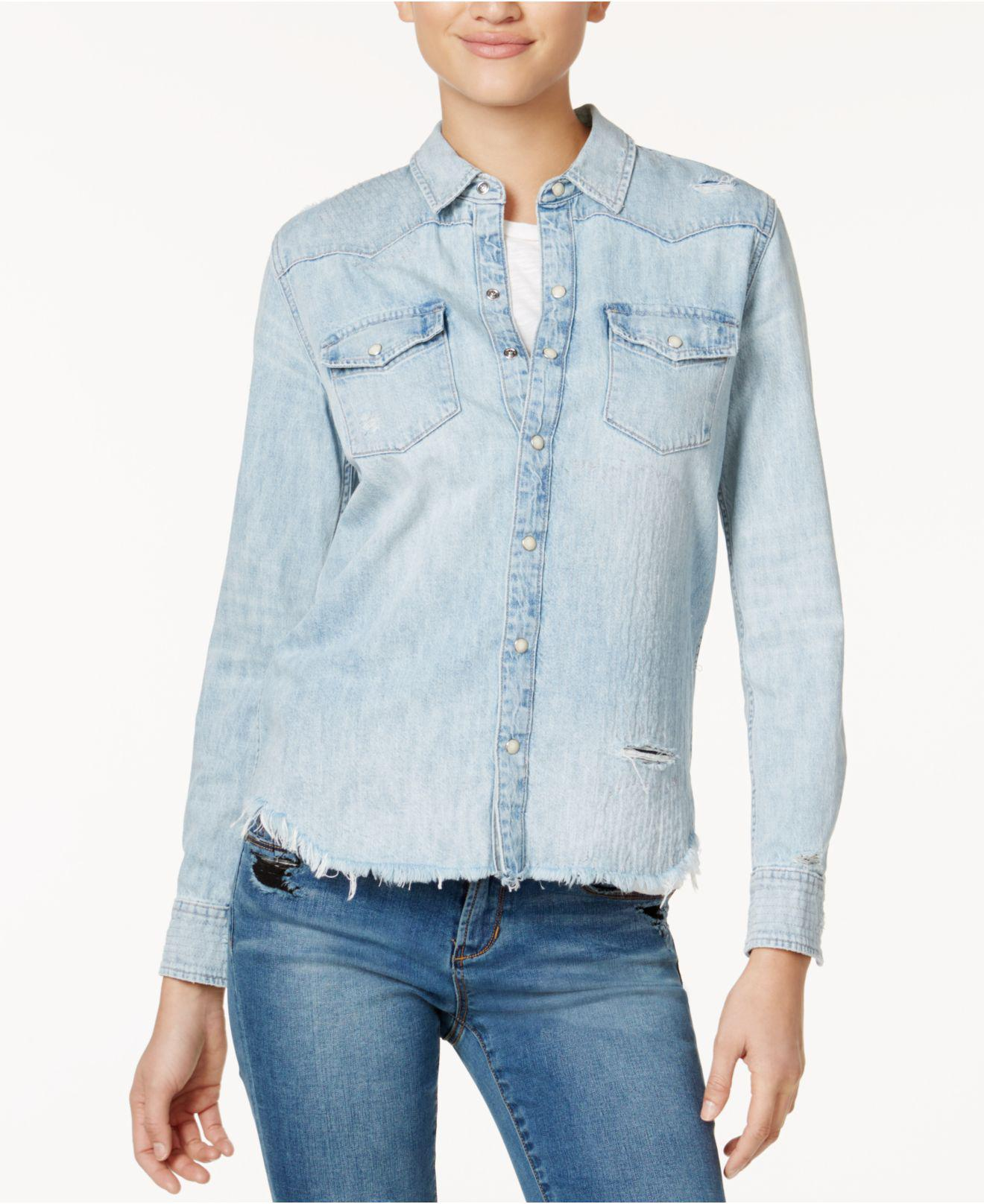 4e993bee85 Lyst - Lucky Brand Cotton Beaded Denim Shirt in Blue