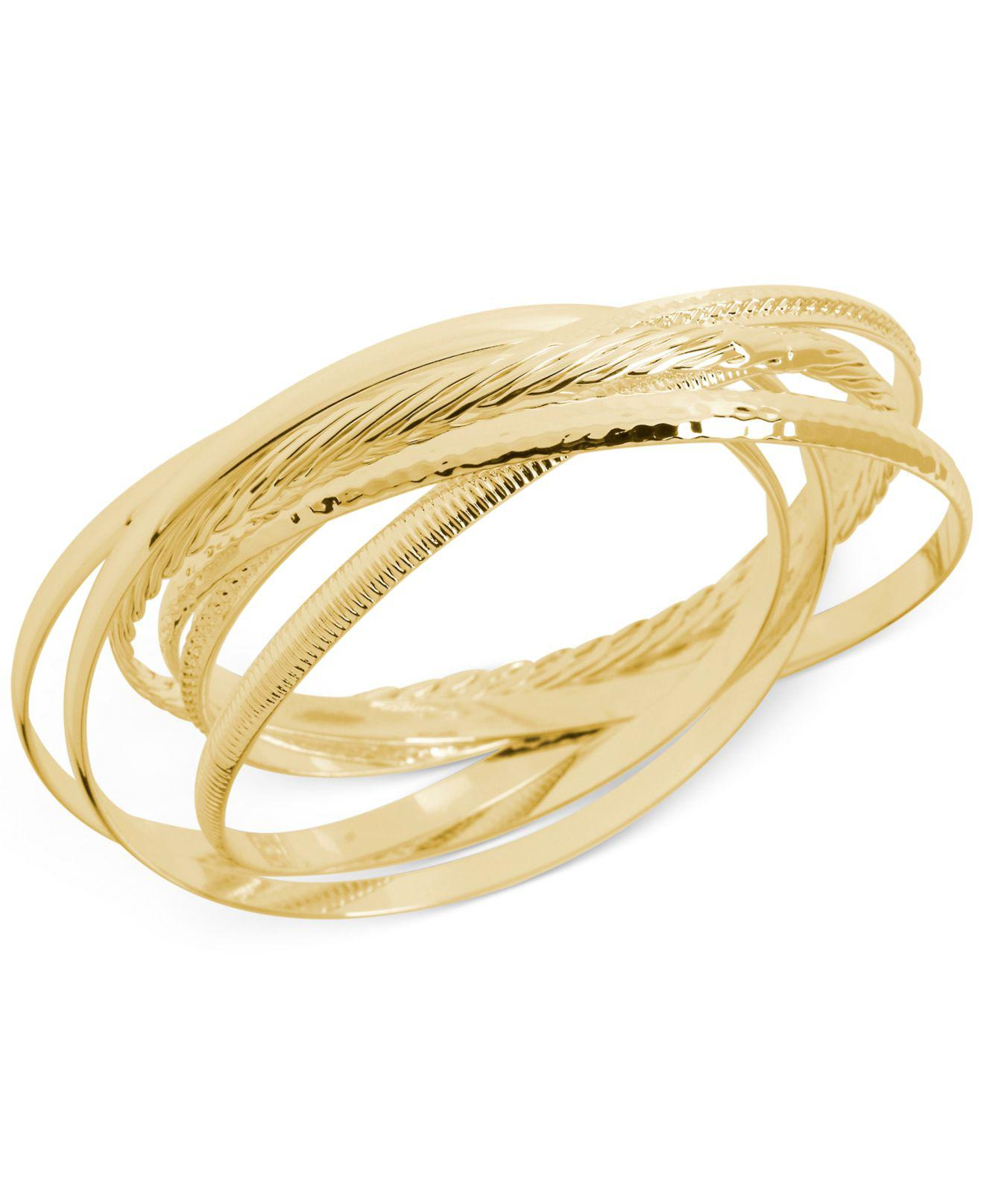 Sole Society Womens Textured Bangle Bracelet Set Gold One Size From Sole Society 8Ya80