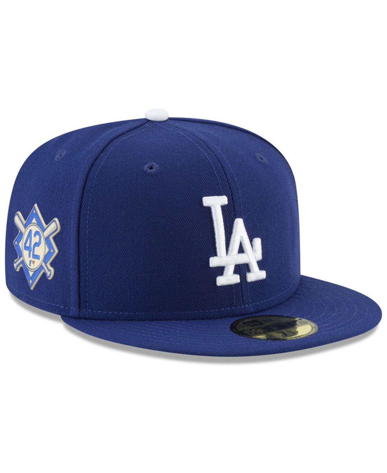 on sale ec66d ca425 ... Los Angeles Dodgers Jackie Robinson Day 59fifty Fitted Cap for Men -  Lyst. View fullscreen