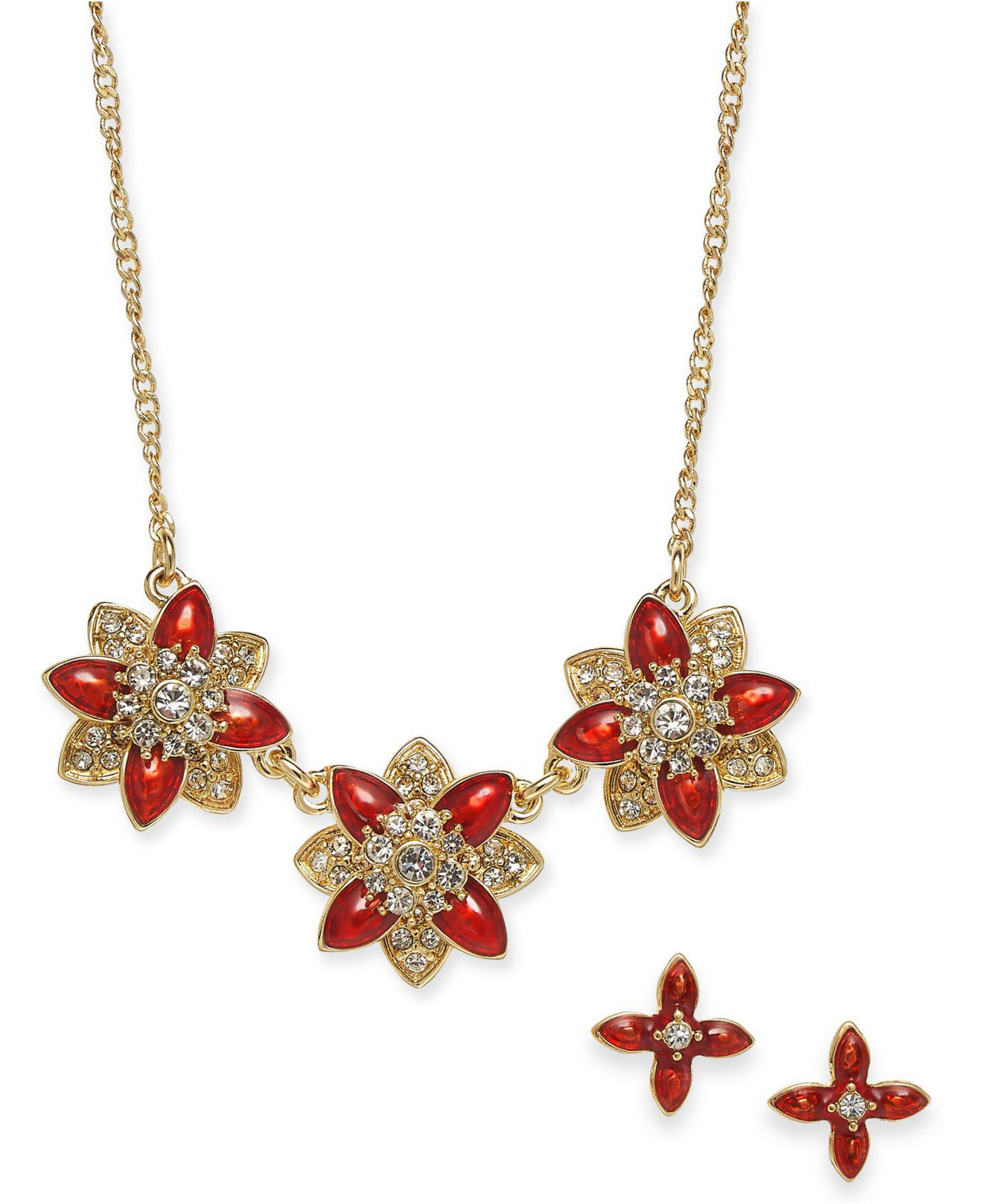 8369df8dc Lyst - Charter Club Gold-tone Crystal And Stone Flower Collar ...