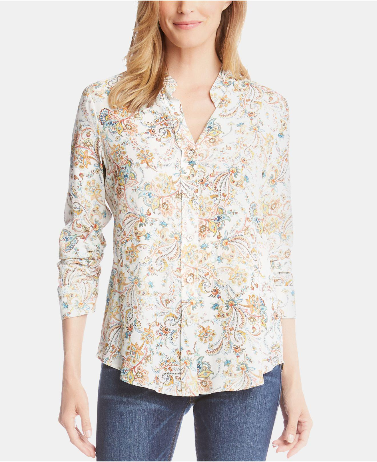 c81f786a2fa94b Lyst - Karen Kane Printed Shirred-sleeve Button-up Top