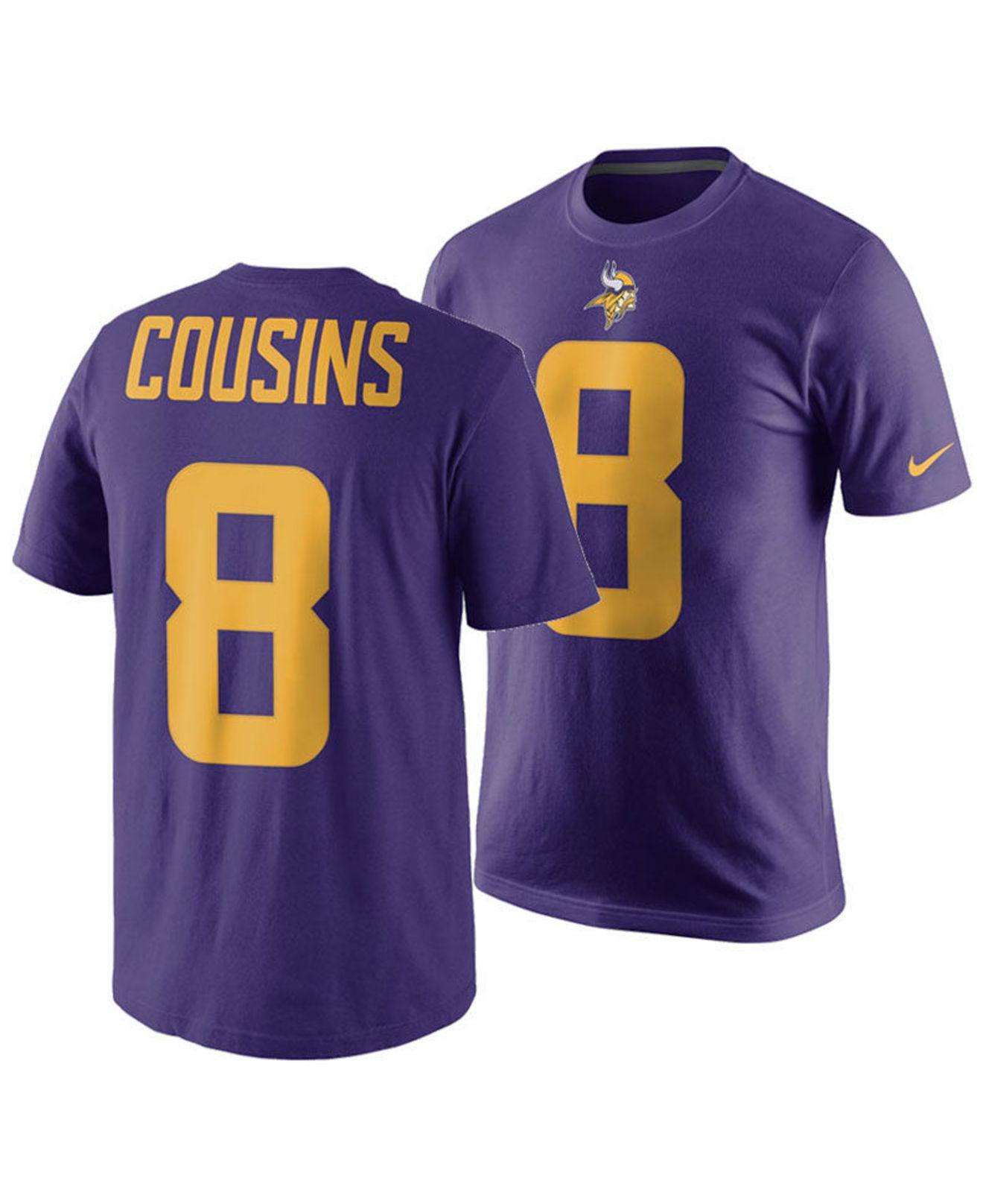 fba4f6811 Nike. Men s Purple Kirk Cousins Minnesota Vikings Pride Name And Number  Wordmark Color Rush T-shirt