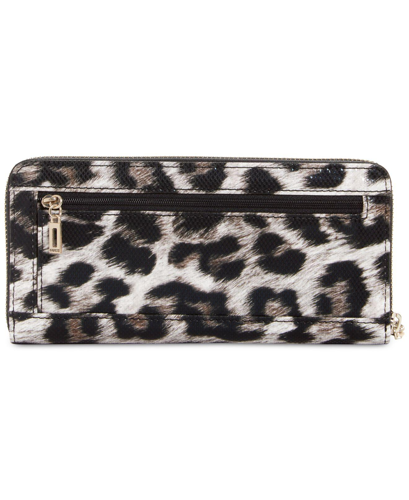 9af647fc0b49 ... mk logo checkbook wallet wallets; guess britta leopard large zip around  wallet lyst ...