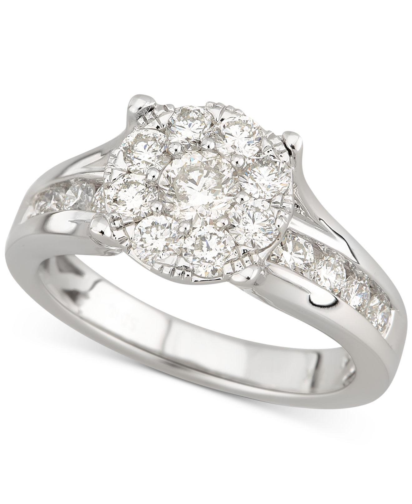 Macy'S Diamond Halo Engagement Ring (1-1/2 Ct. T.w
