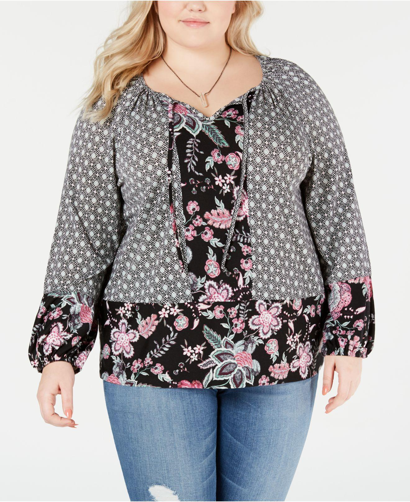 82cfb123198 Lyst - Style   Co. Plus Size Mixed-print Bishop-sleeve Top