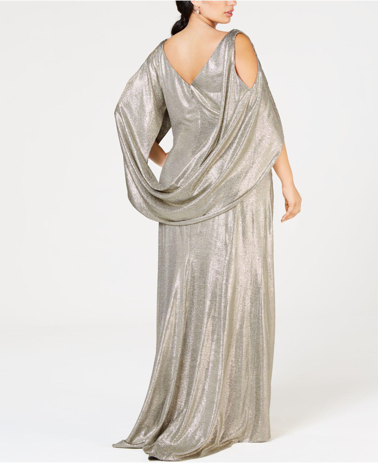 40012fc56fa Betsy   Adam Plus Size Metallic Cold-shoulder Cape Gown in Metallic - Save  40% - Lyst