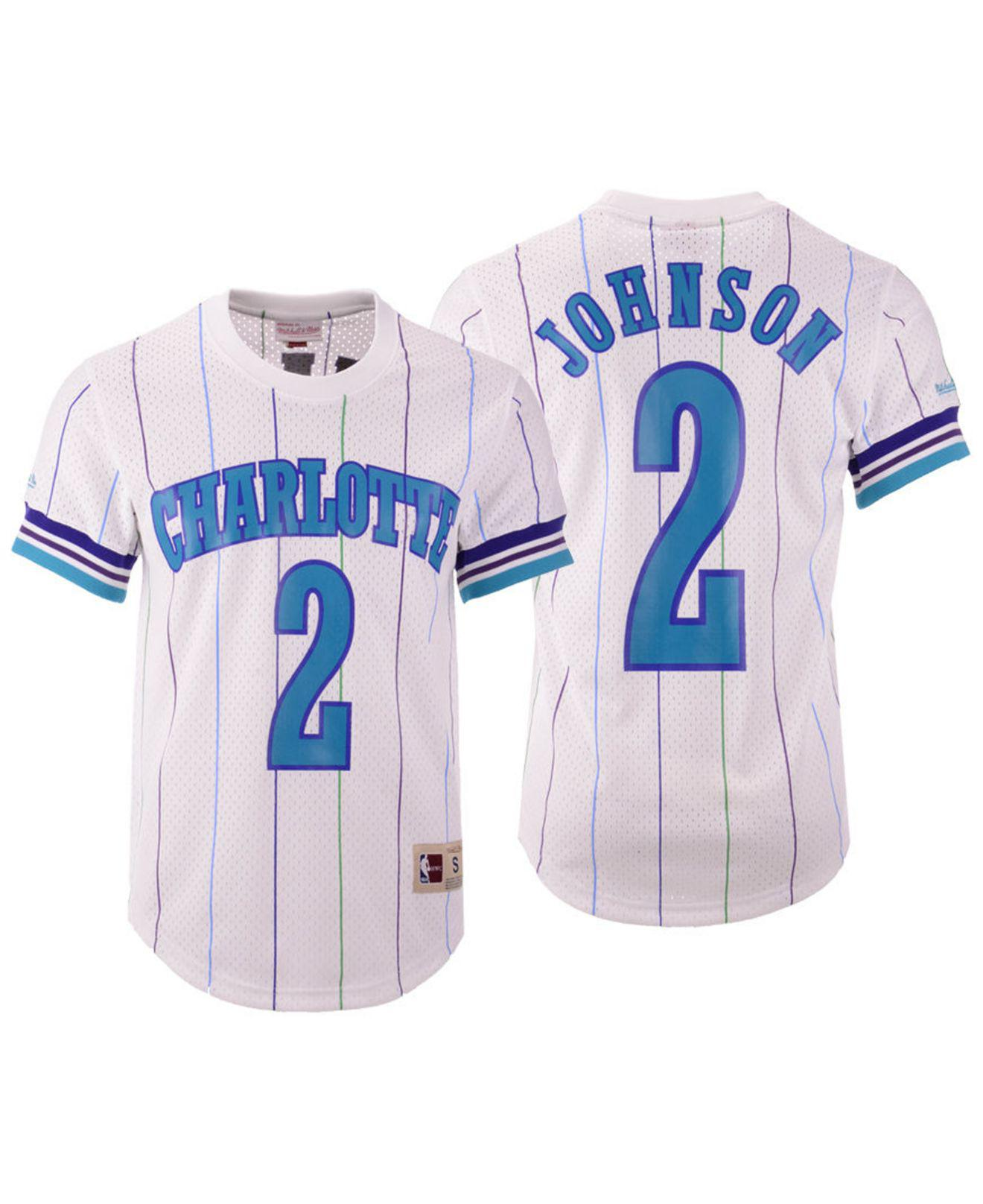 Mitchell   Ness. Men s White Larry Johnson Charlotte Hornets Name And Number  Mesh Crewneck Jersey d5193f140
