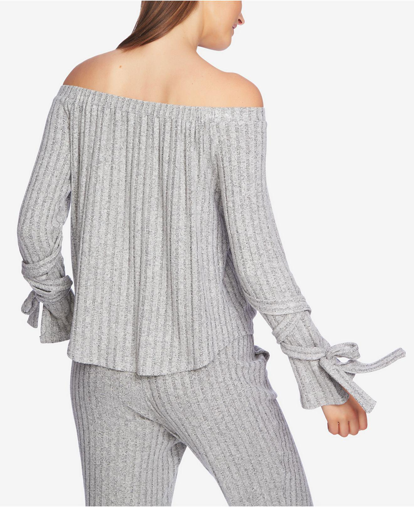 8f6e7a1c5ee Lyst - 1.STATE Cozy Off-the-shoulder Tie-sleeve Top in Gray