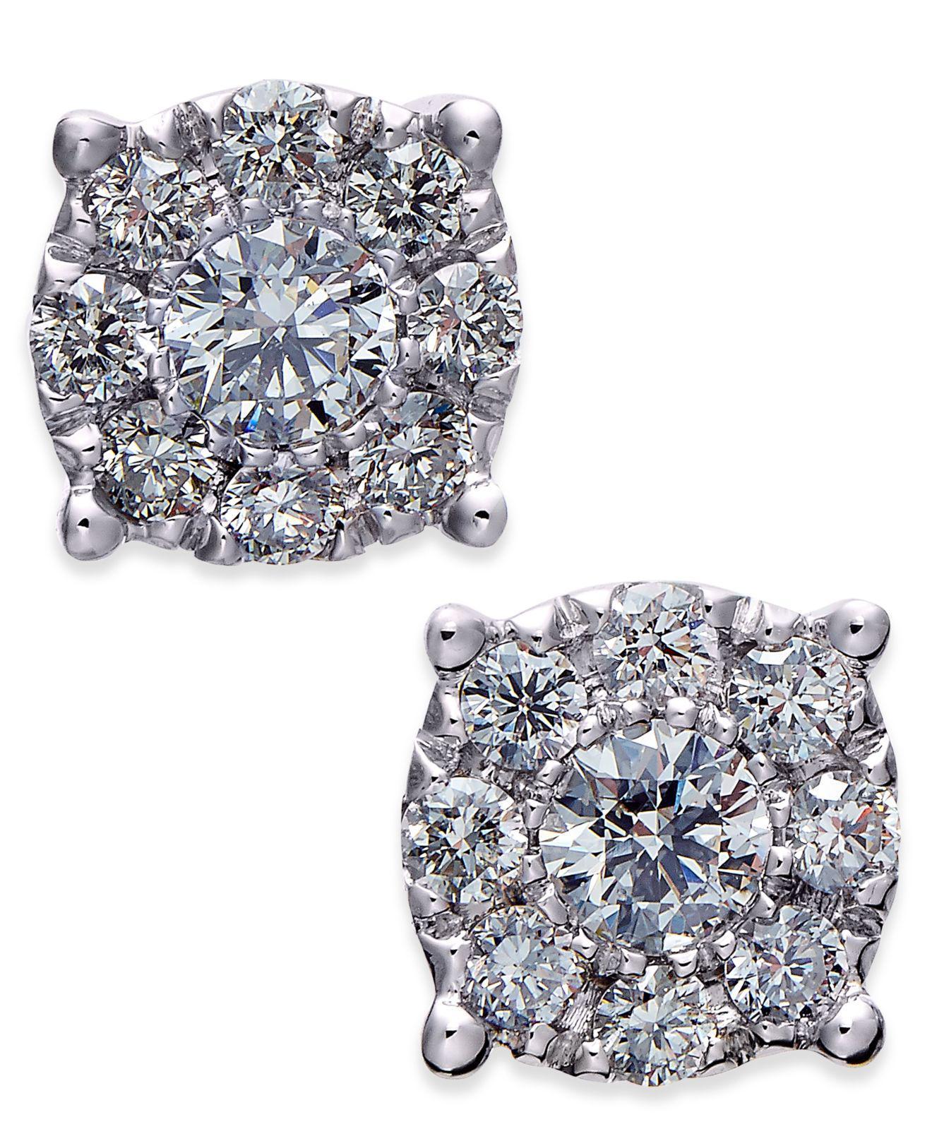 5ea1fc604 Lyst - Macy's Diamond Cluster Stud Earrings (1/2 Ct. T.w.) In 14k ...