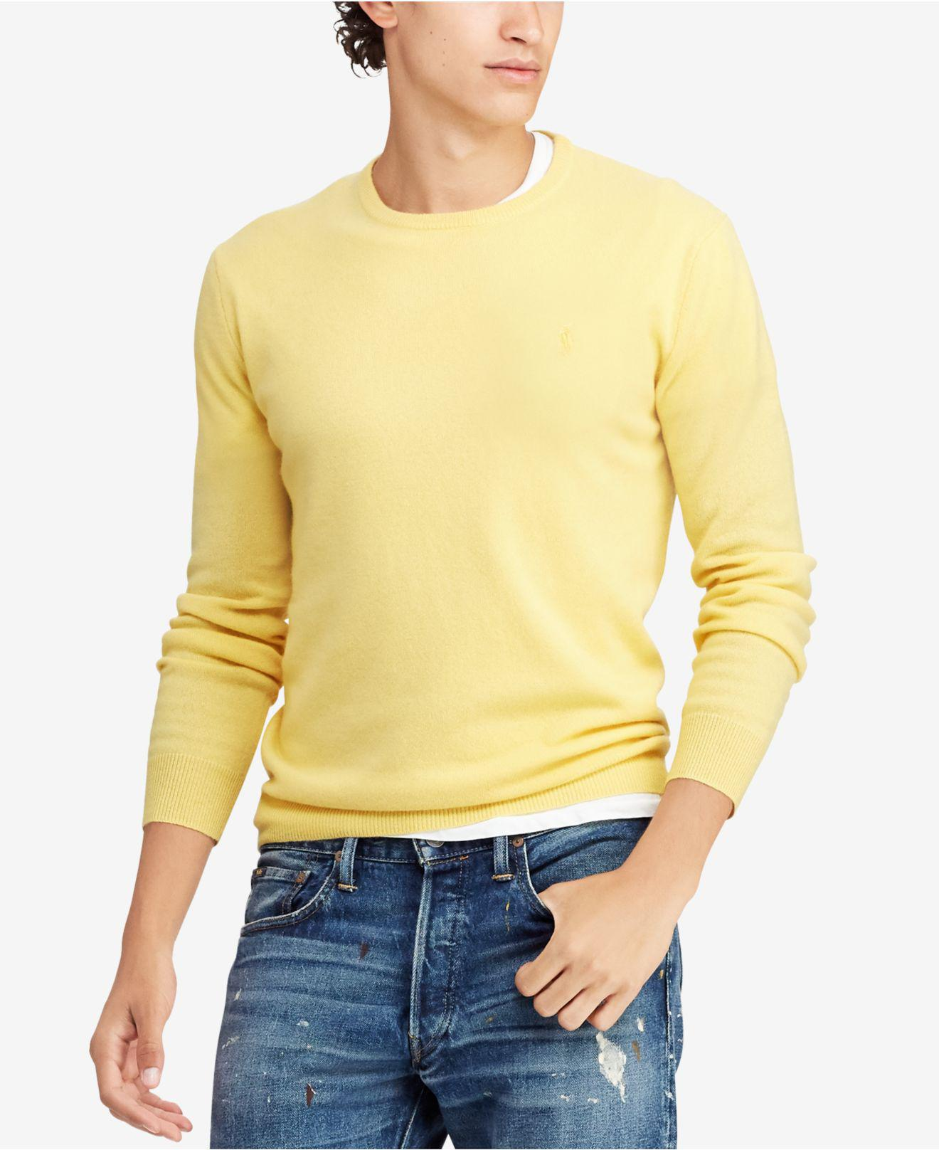 7b8cadae5 Lyst - Polo Ralph Lauren Cashmere Crew Neck Sweater in Yellow for Men